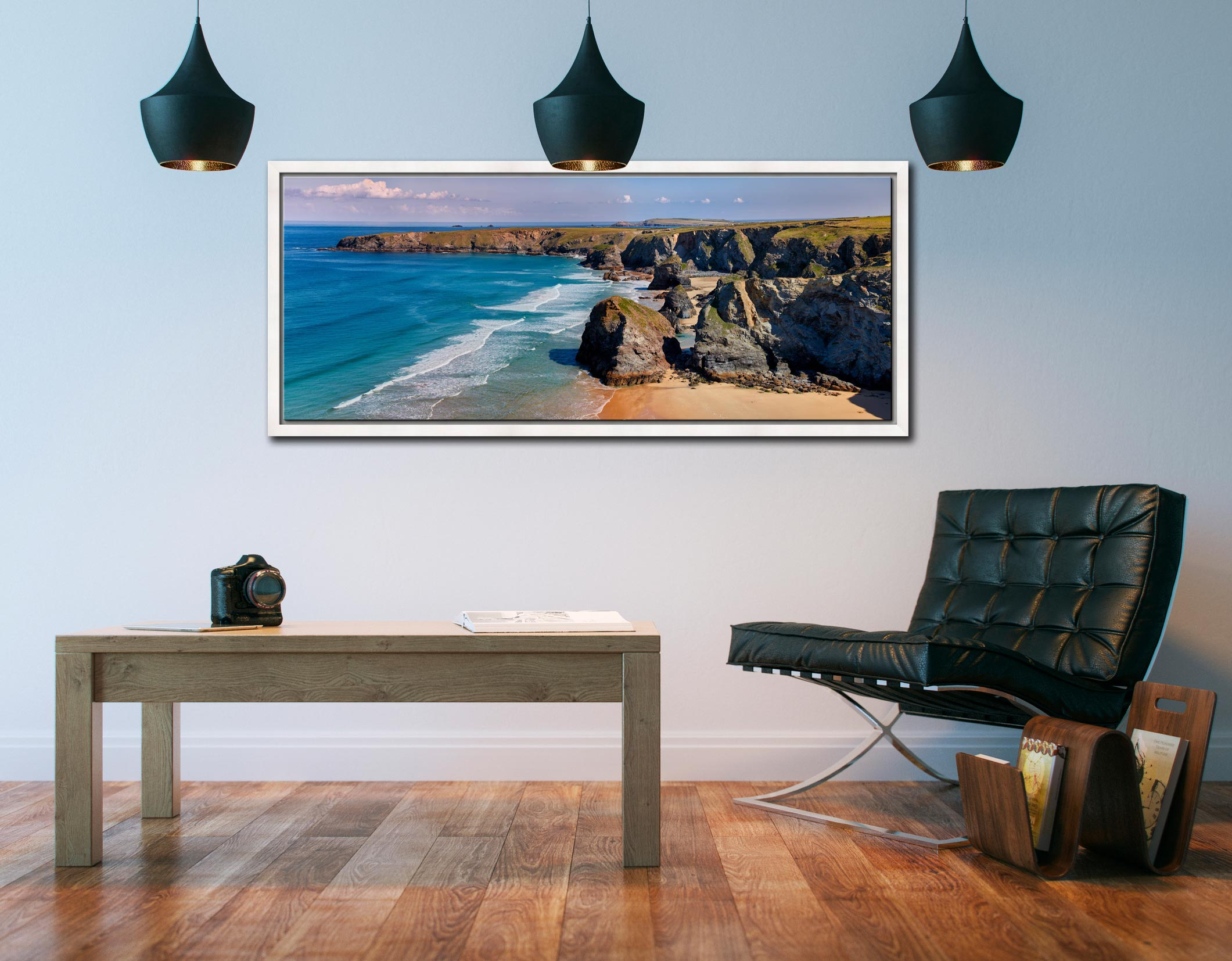 Very large high resolution image of Bedruthan rock stacks and golden beach - White Maple floater frame with acrylic glazing on Wall