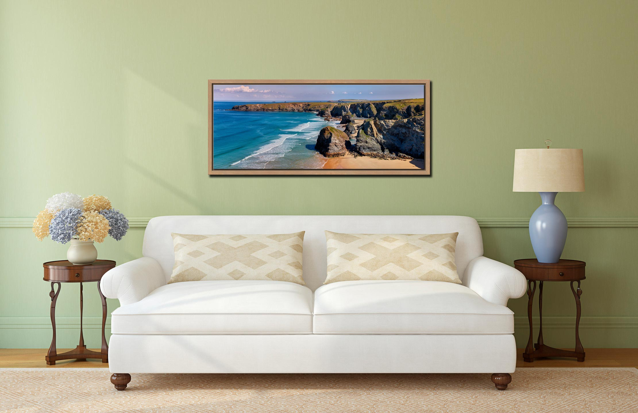 Very large high resolution image of Bedruthan rock stacks and golden beach - Oak floater frame with acrylic glazing on Wall