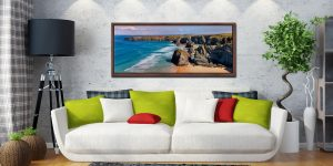 Very large high resolution image of Bedruthan rock stacks and golden beach - Walnut floater frame with acrylic glazing on Wall