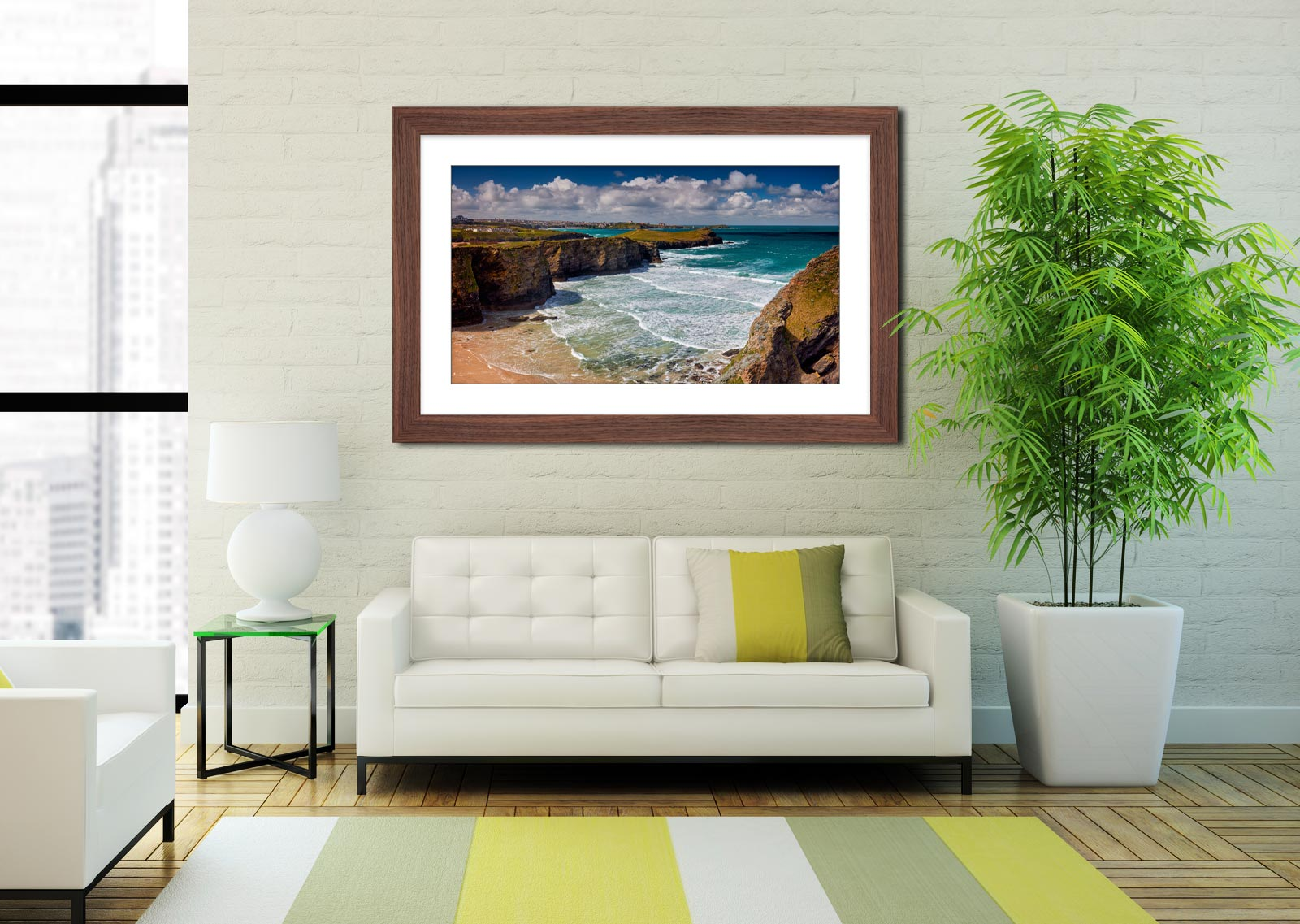 Porth Island - Framed Print with Mount on Wall