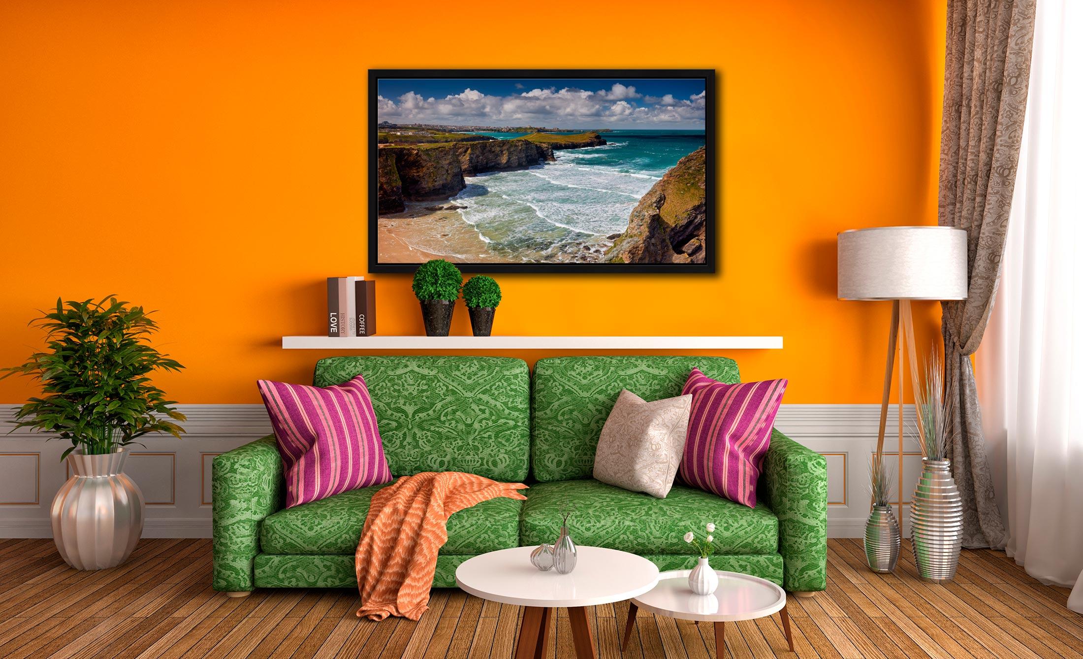 Porth Island - Black oak floater frame with acrylic glazing on Wall