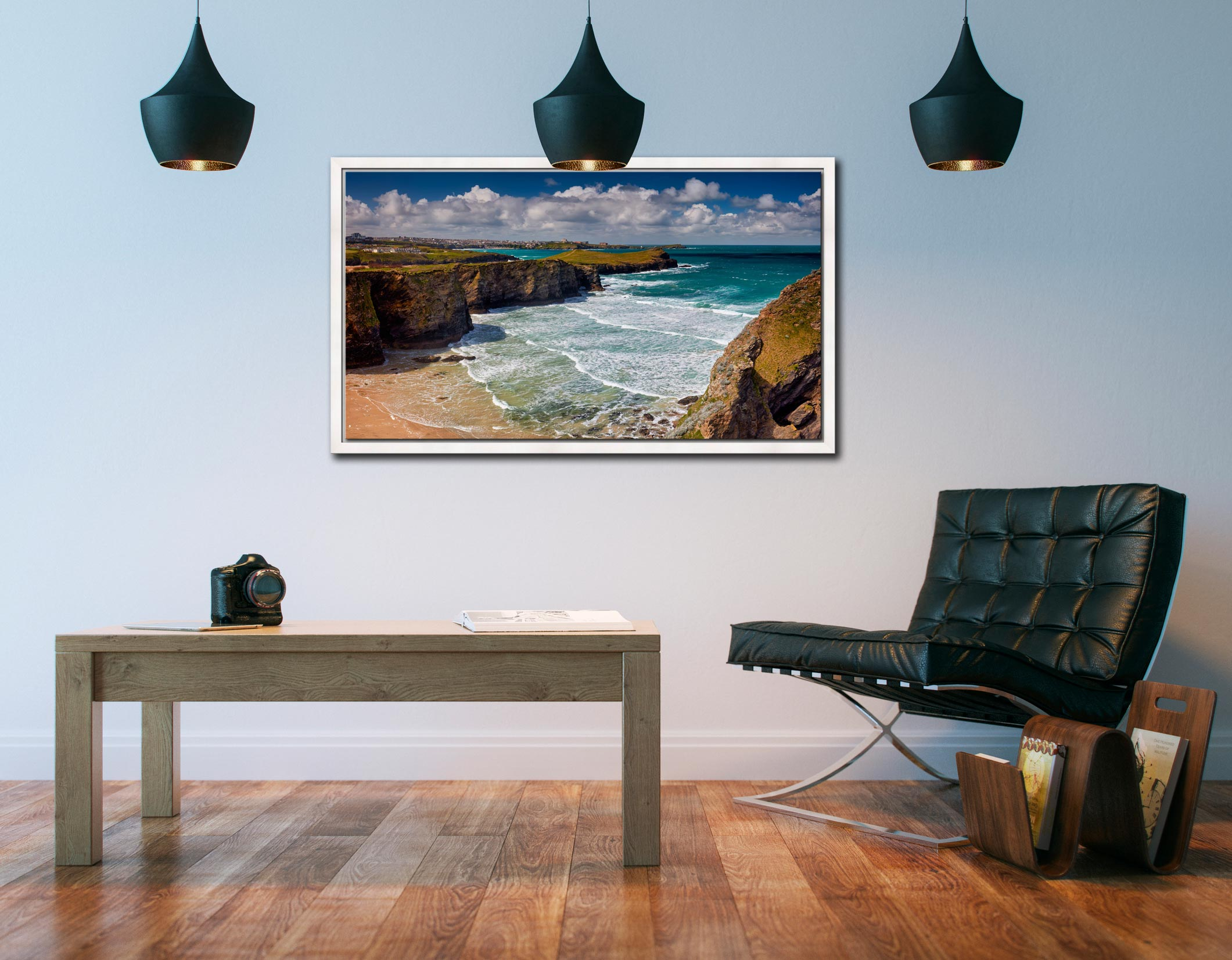 Porth Island - White Maple floater frame with acrylic glazing on Wall