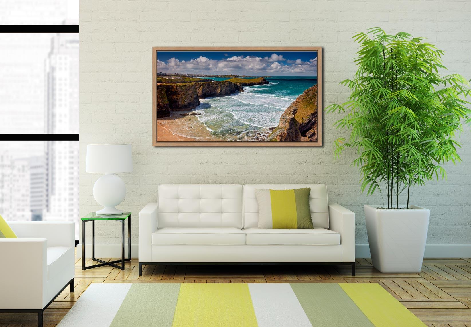 Porth Island - Oak floater frame with acrylic glazing on Wall