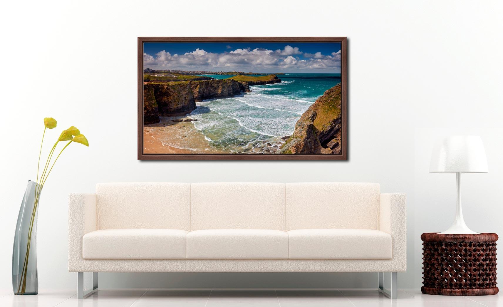 Porth Island - Walnut floater frame with acrylic glazing on Wall