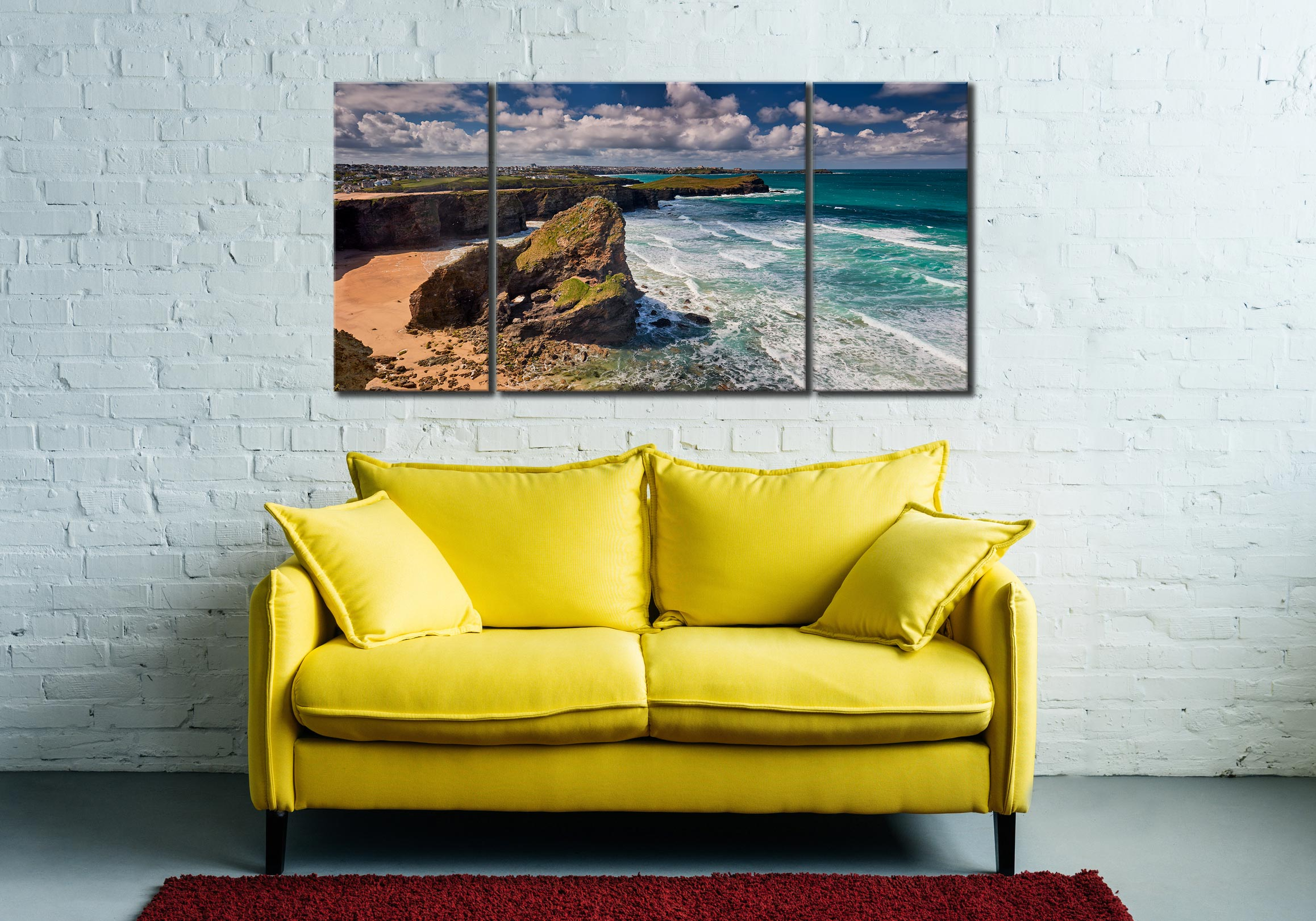 Black Humprey Rock - 3 Panel Wide Centre Canvas on Wall