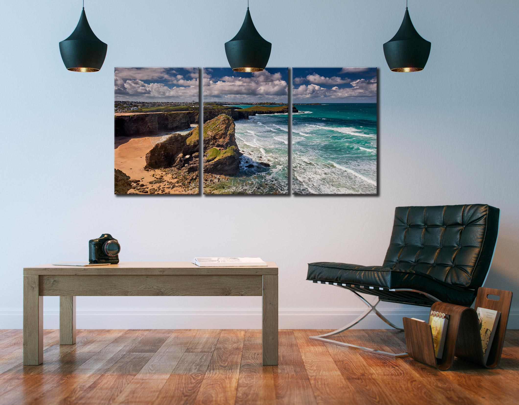 Black Humprey Rock - 3 Panel Canvas on Wall