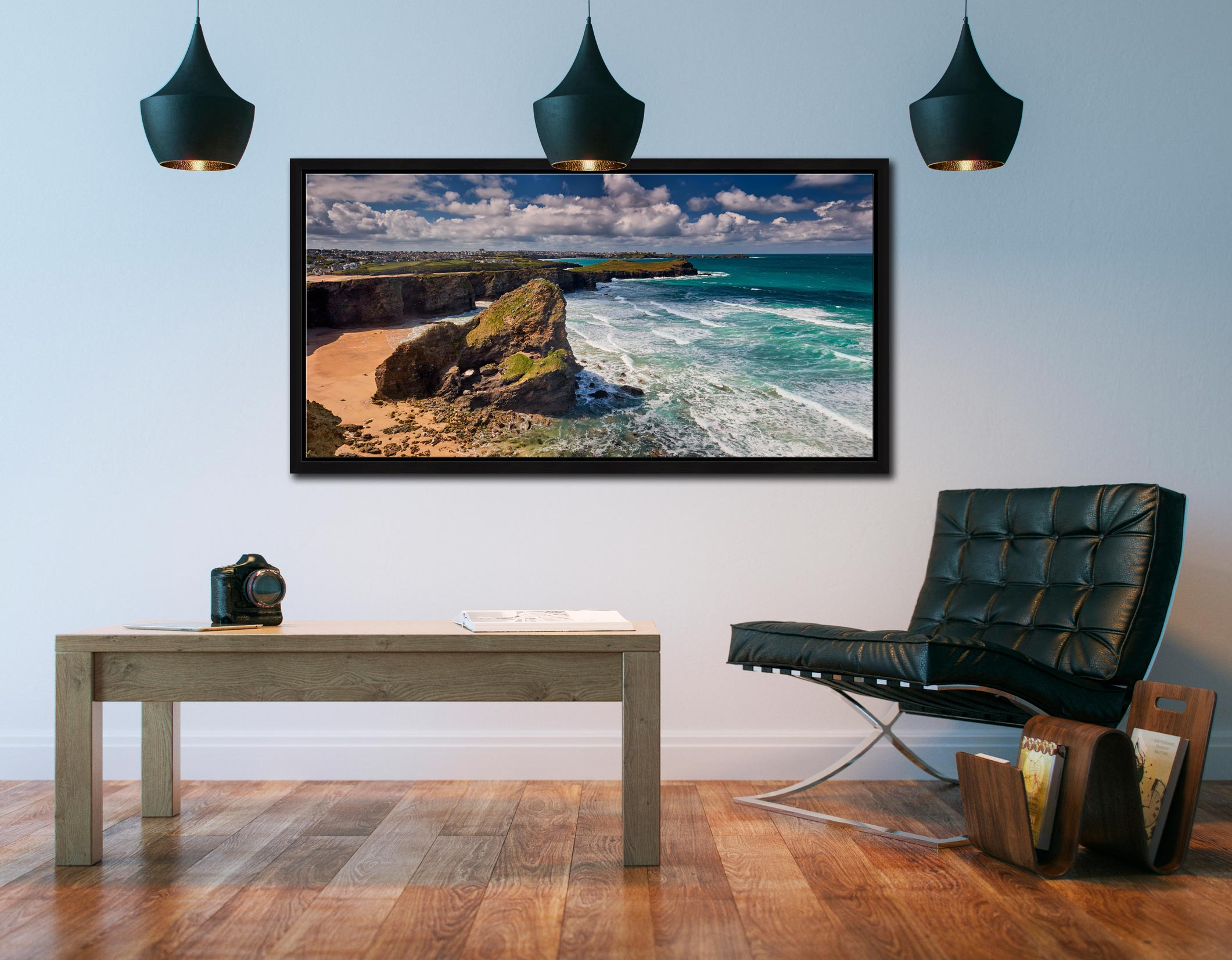 Black Humprey Rock - Black oak floater frame with acrylic glazing on Wall