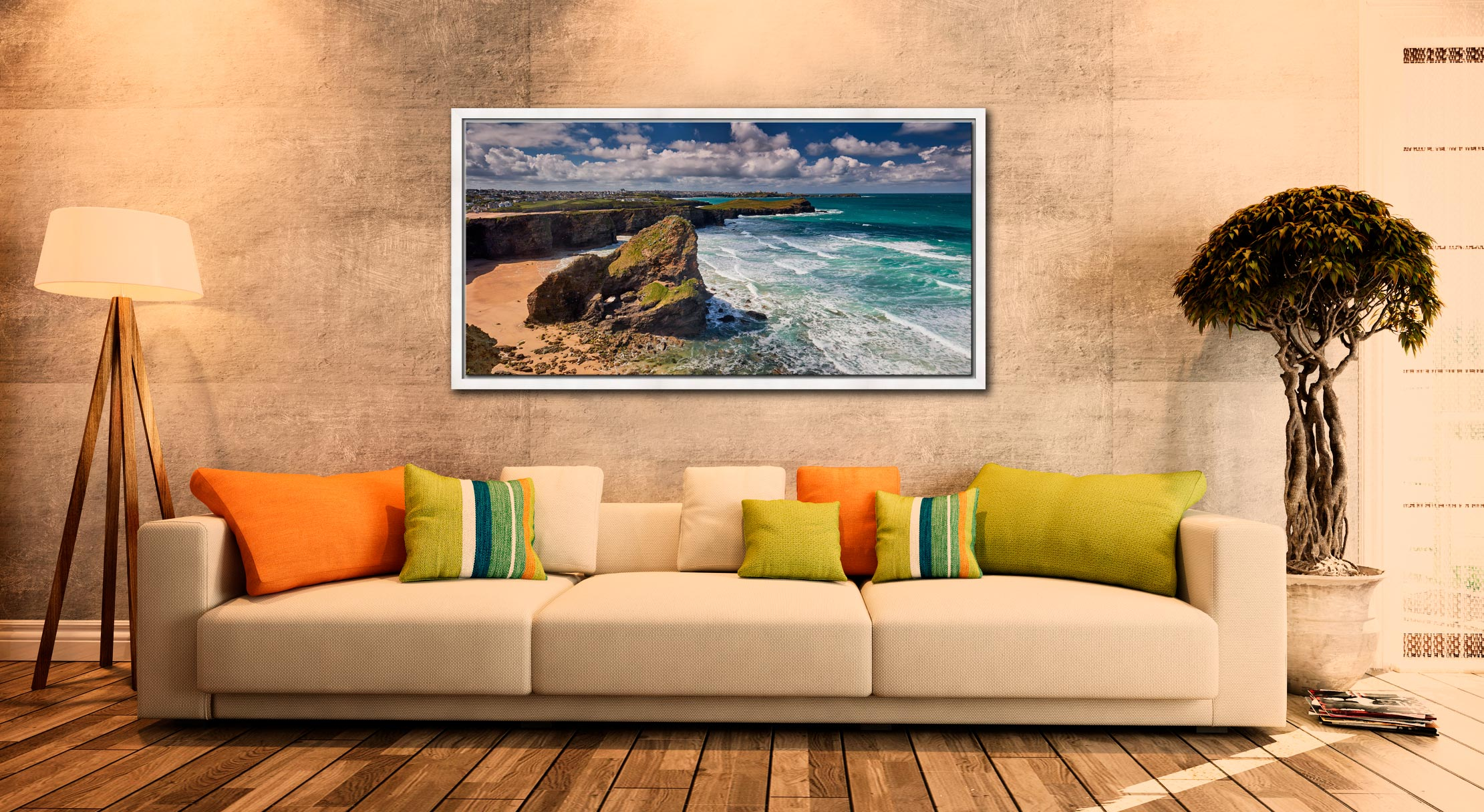 Black Humprey Rock - White Maple floater frame with acrylic glazing on Wall