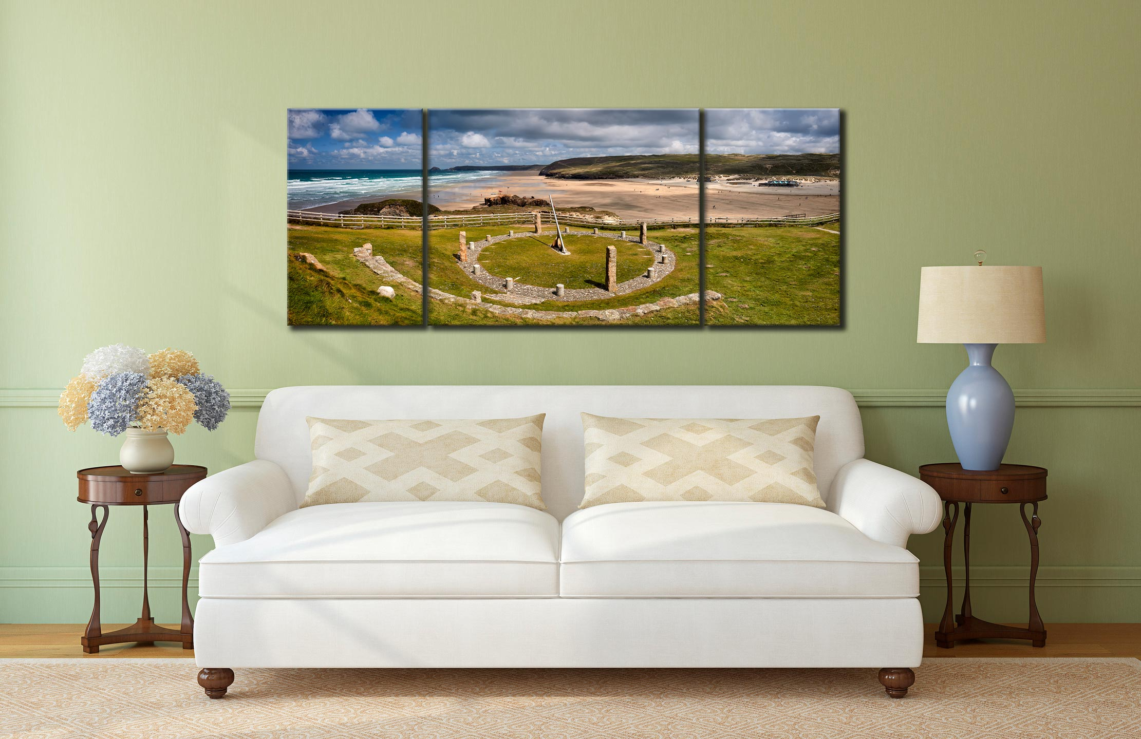 Perranporth Sundial and Beach - 3 Panel Wide Mid Canvas on Wall