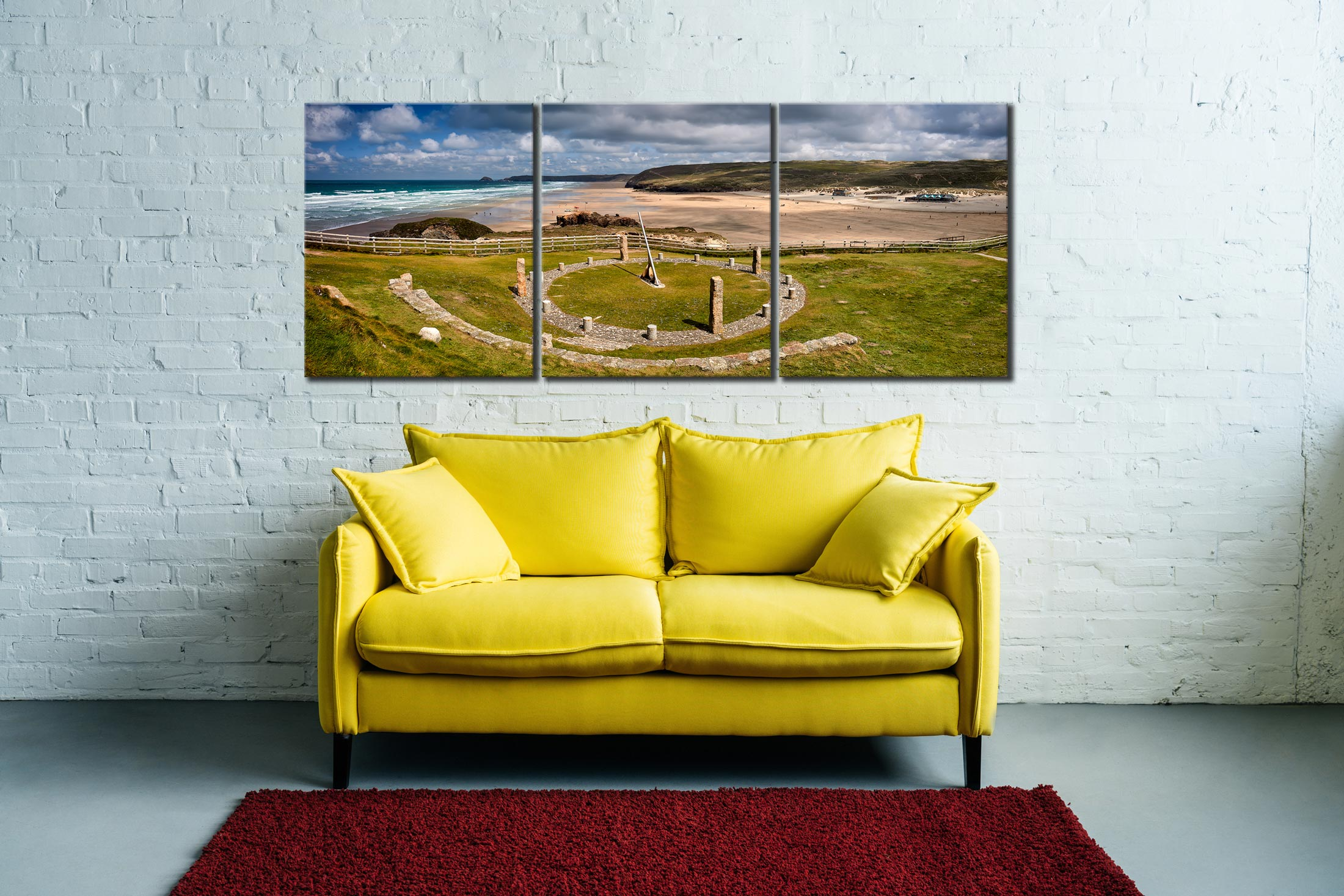 Perranporth Sundial and Beach - 3 Panel Canvas on Wall