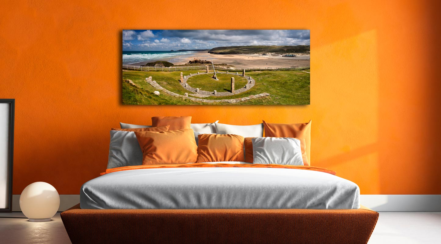Perranporth Sundial and Beach - Canvas Print on Wall