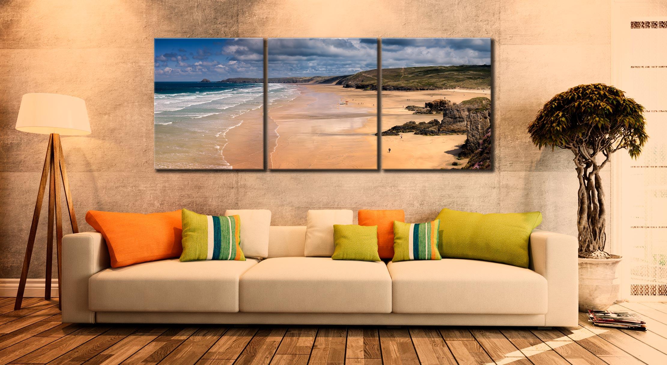 Perranporth Beach - 3 Panel Canvas on Wall