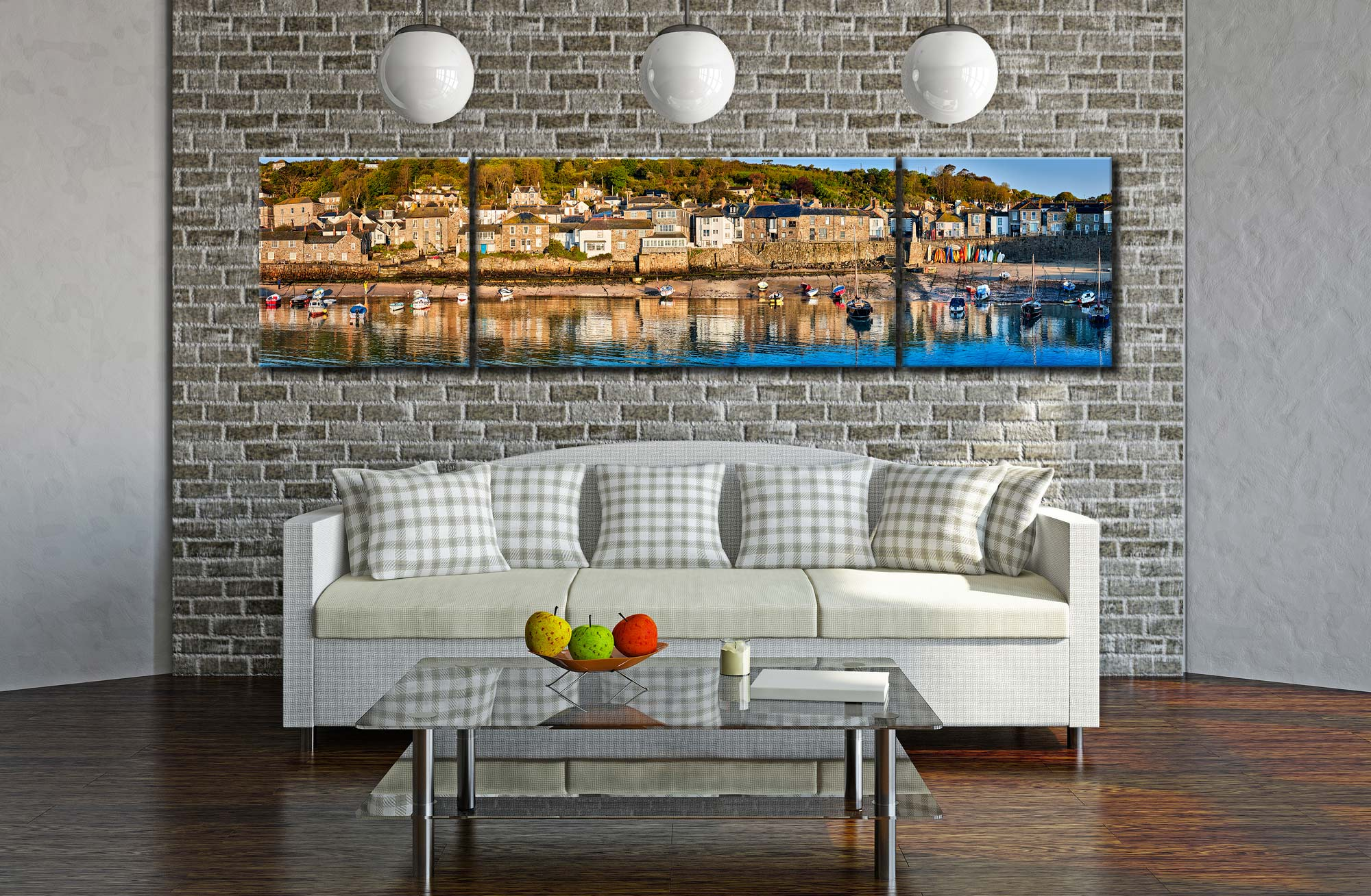 Mousehole Harbour Panorama - 3 Panel Wide Centre Canvas on Wall
