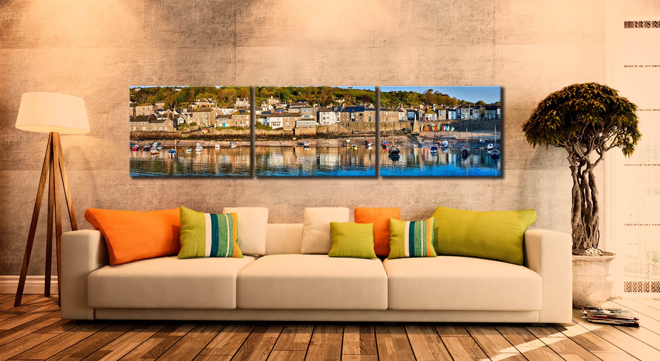 Mousehole Harbour Panorama - 3 Panel Canvas on Wall
