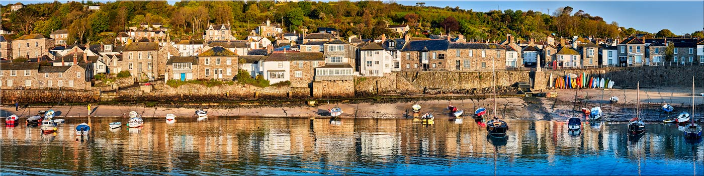 Mousehole Harbour Panorama - Canvas Print