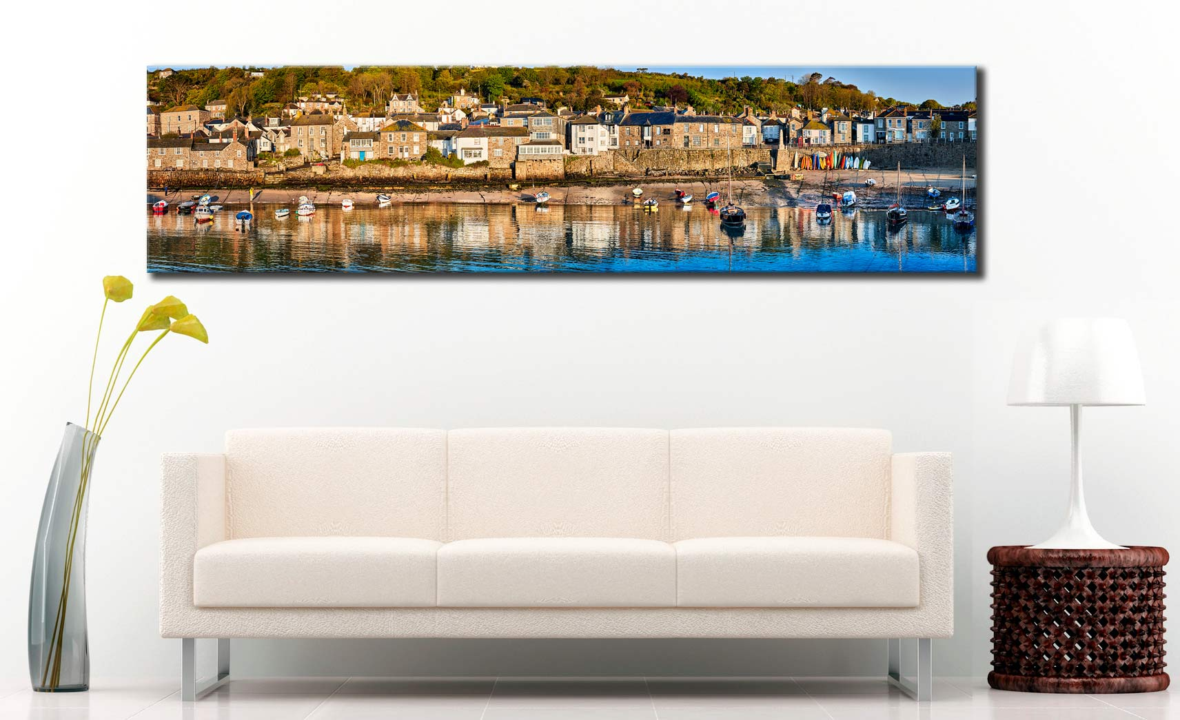 Mousehole Harbour Panorama - Cornwall Canvas on Wall