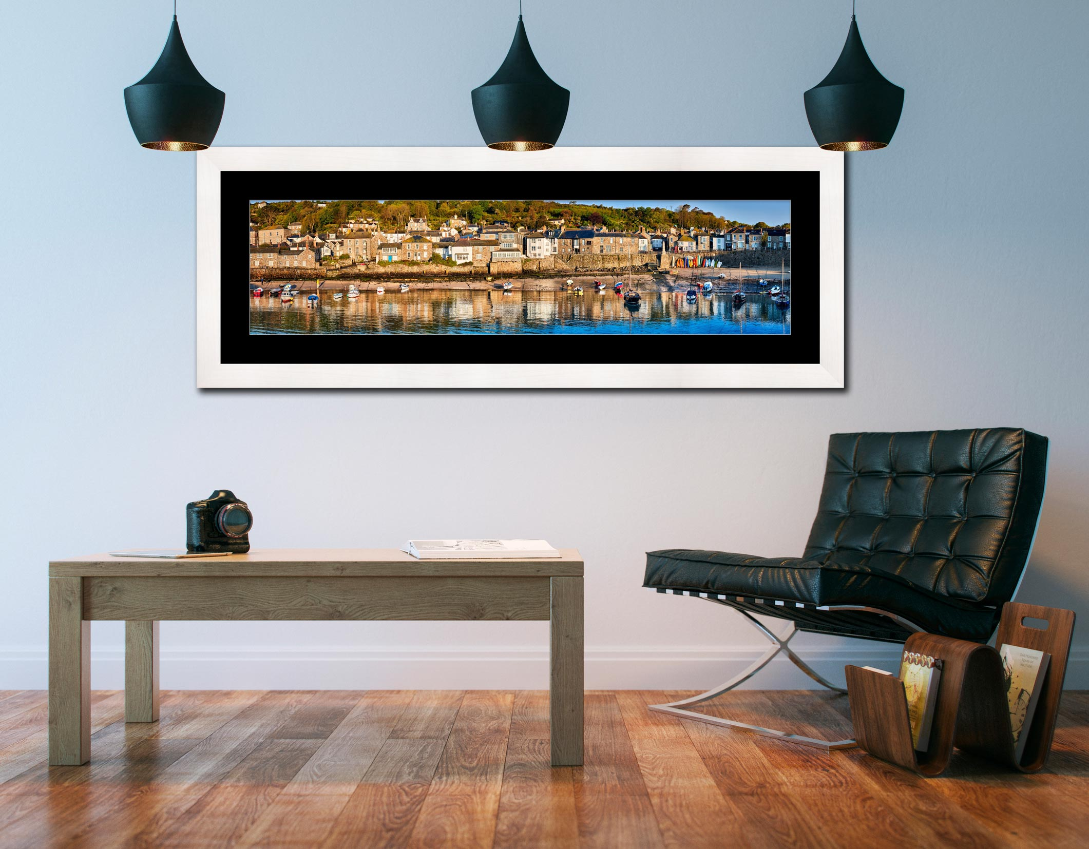 Mousehole Harbour Panorama - Framed Print with Mount on Wall