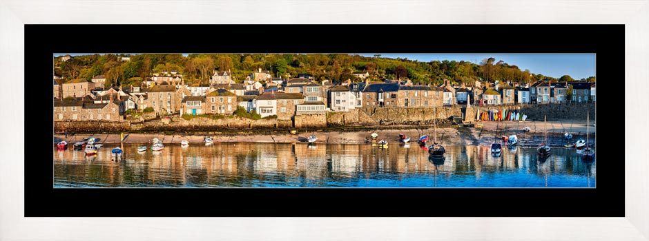 Mousehole Harbour Panorama - Framed Print with Mount