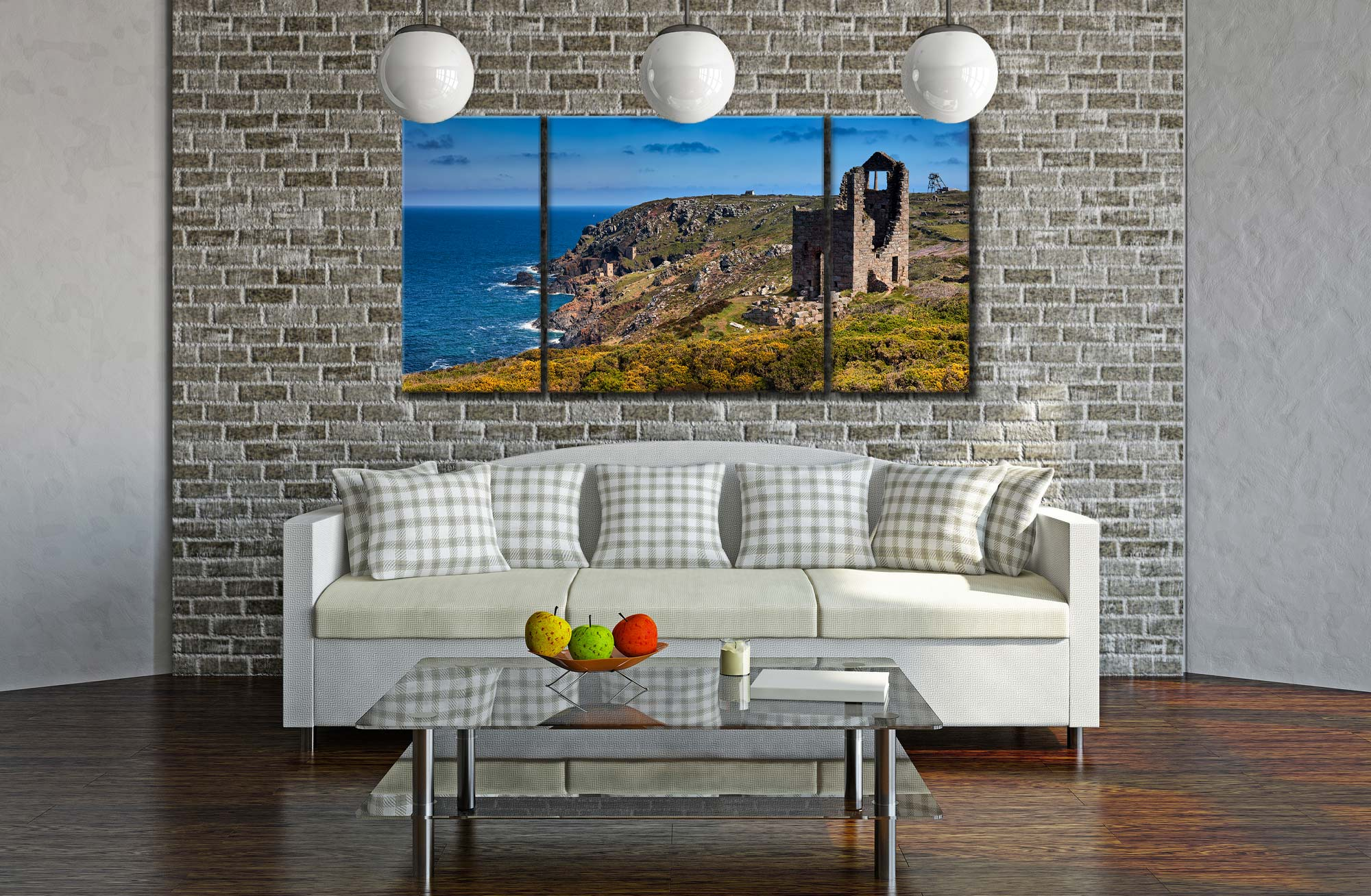 Mining Coast of Botallack - 3 Panel Wide Centre Canvas on Wall