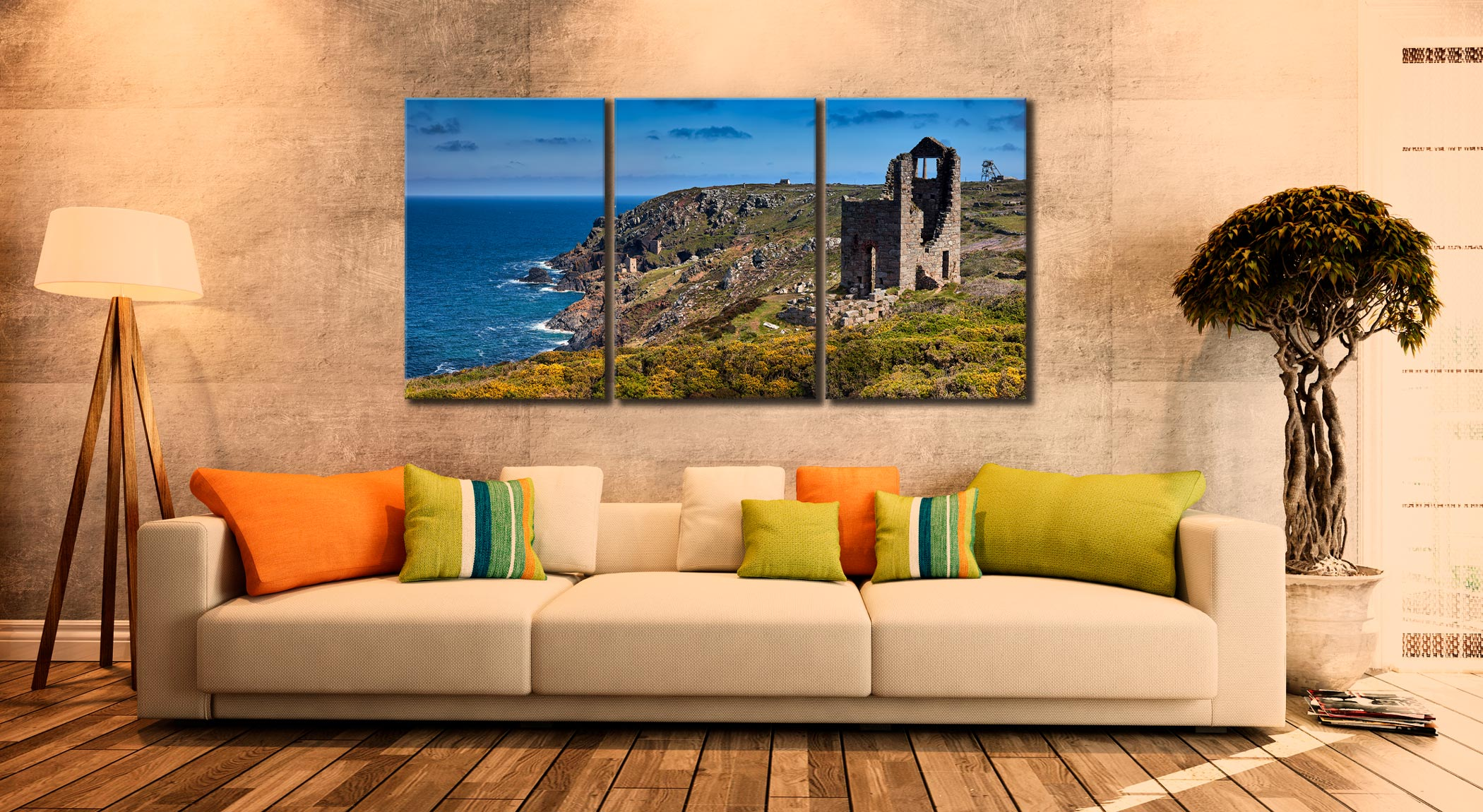 Mining Coast of Botallack - 3 Panel Canvas on Wall