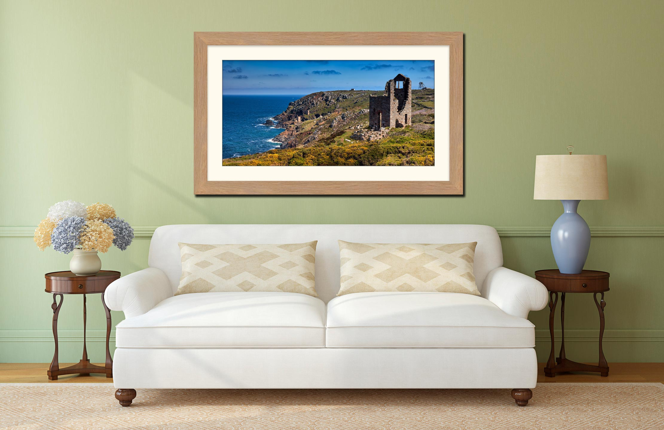 Mining Coast of Botallack - Framed Print with Mount on Wall