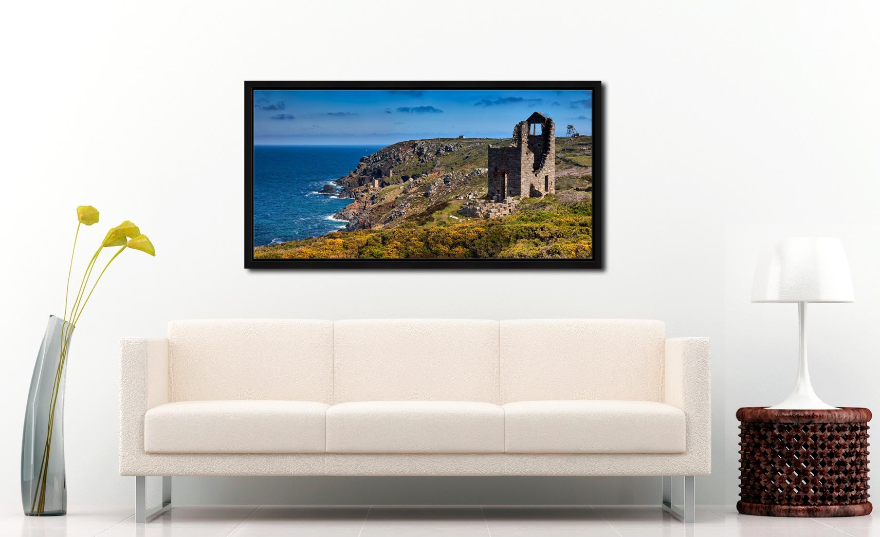 Mining Coast of Botallack - Black oak floater frame with acrylic glazing on Wall