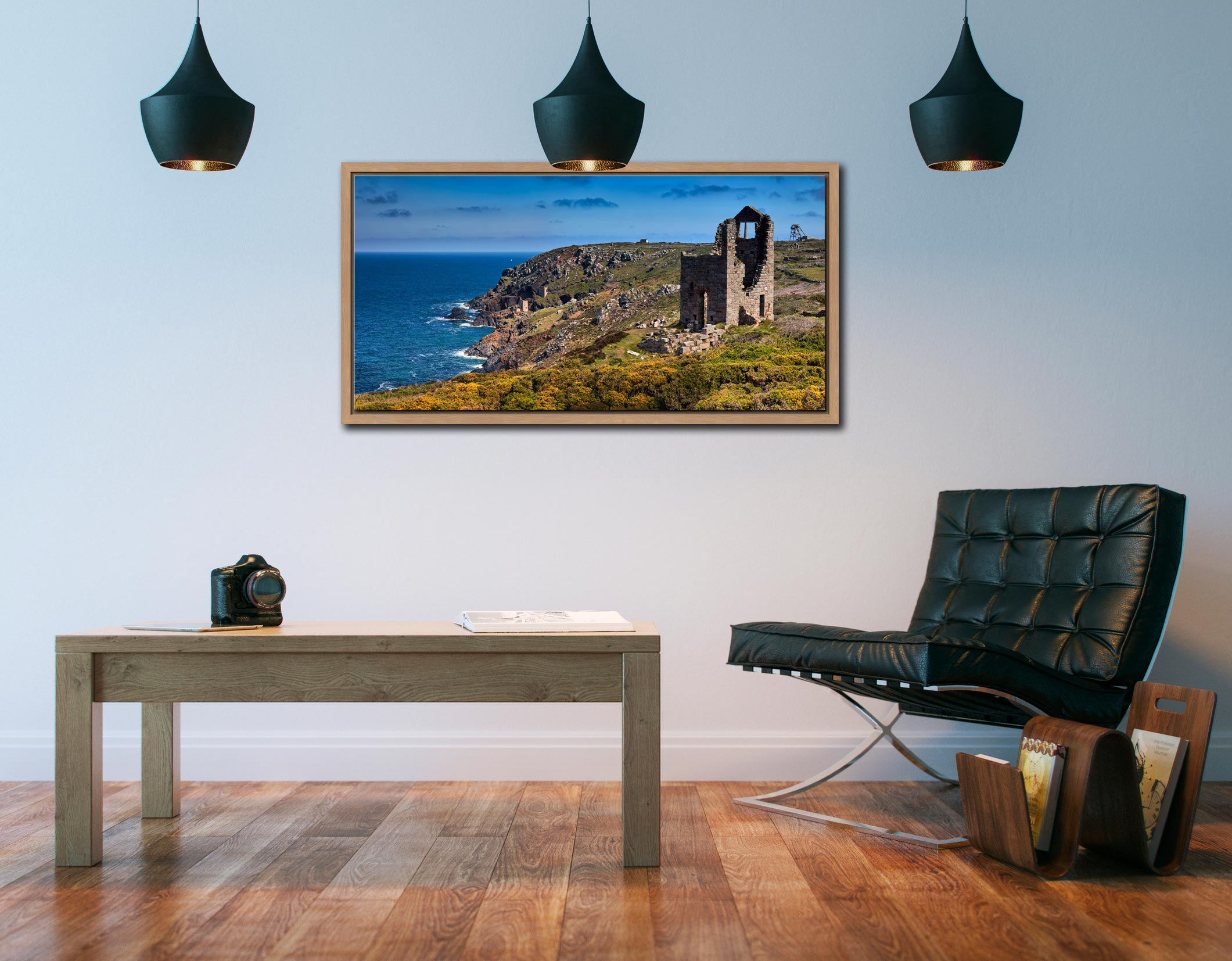 Mining Coast of Botallack - Oak floater frame with acrylic glazing on Wall
