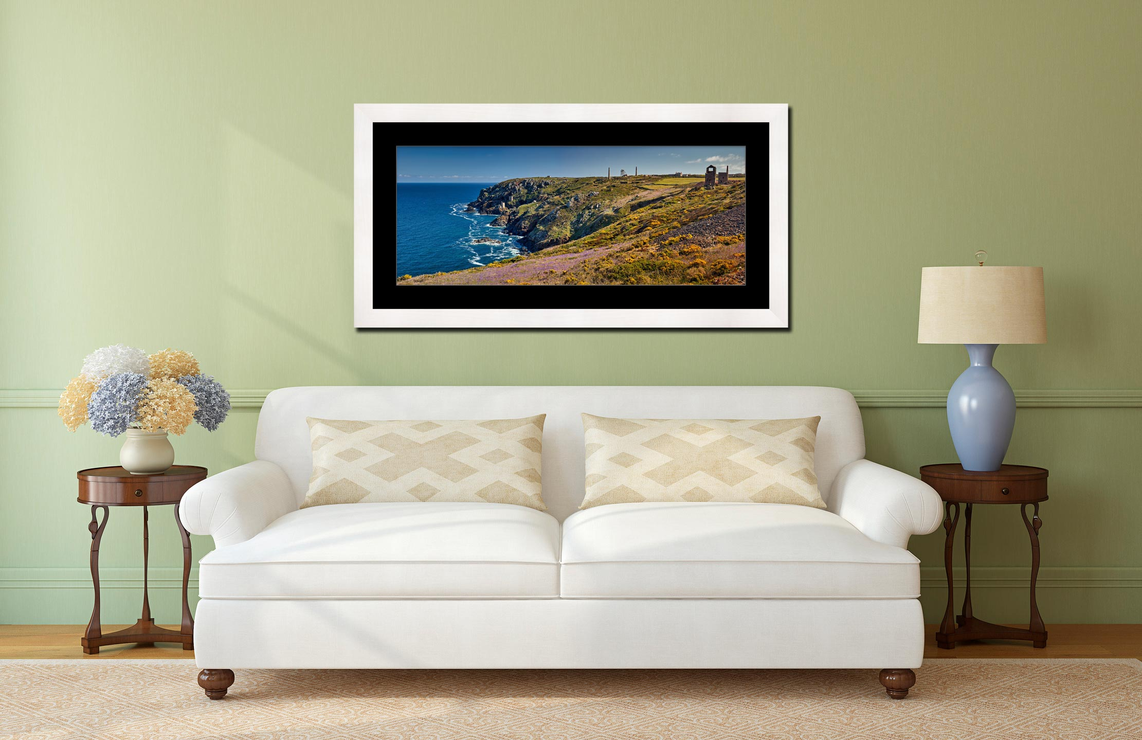 Botallack Bluebells - Framed Print with Mount on Wall