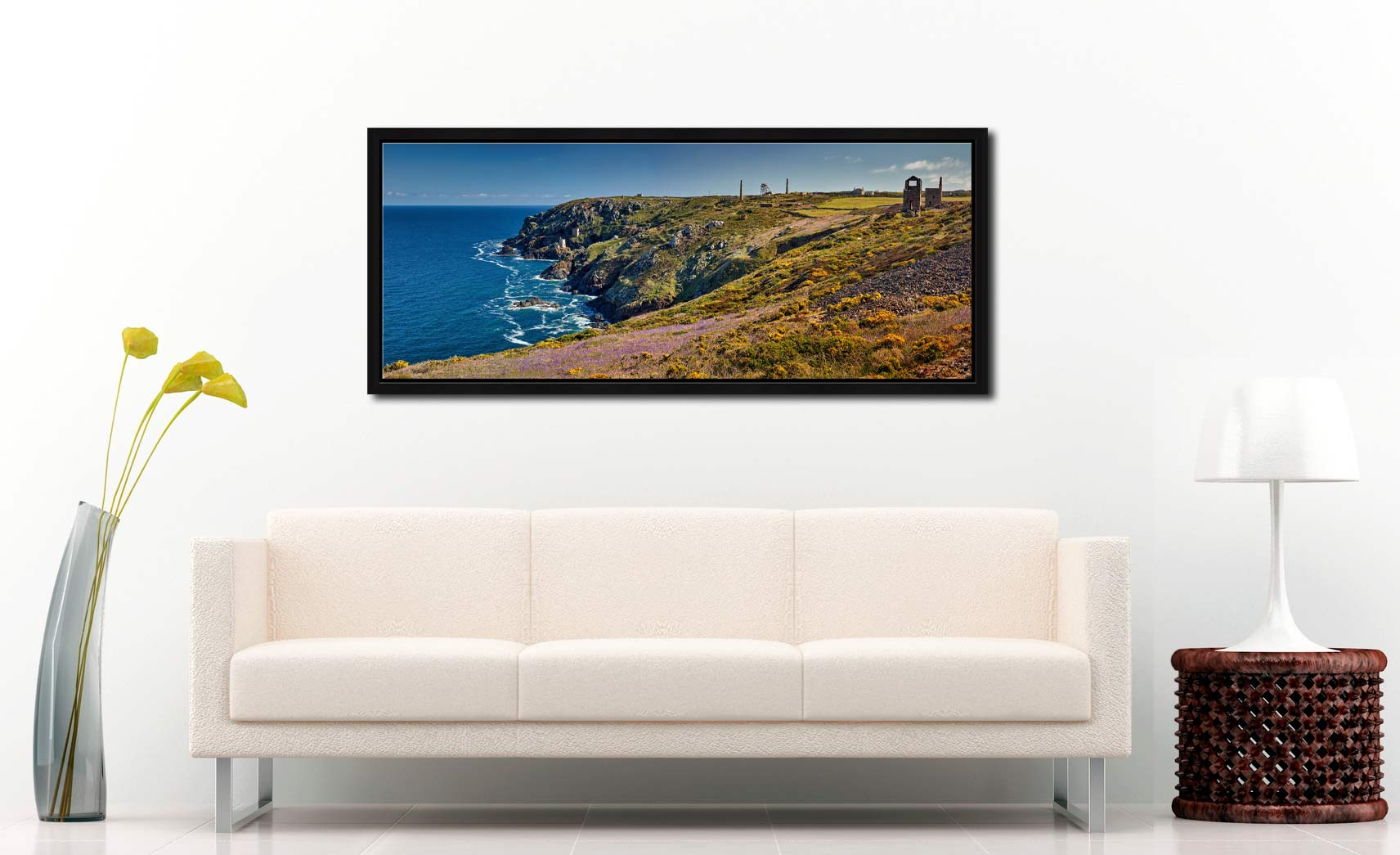 The wildflowers and mine ruins at Botallack on the Cornish coast - Black oak floater frame with acrylic glazing on Wall