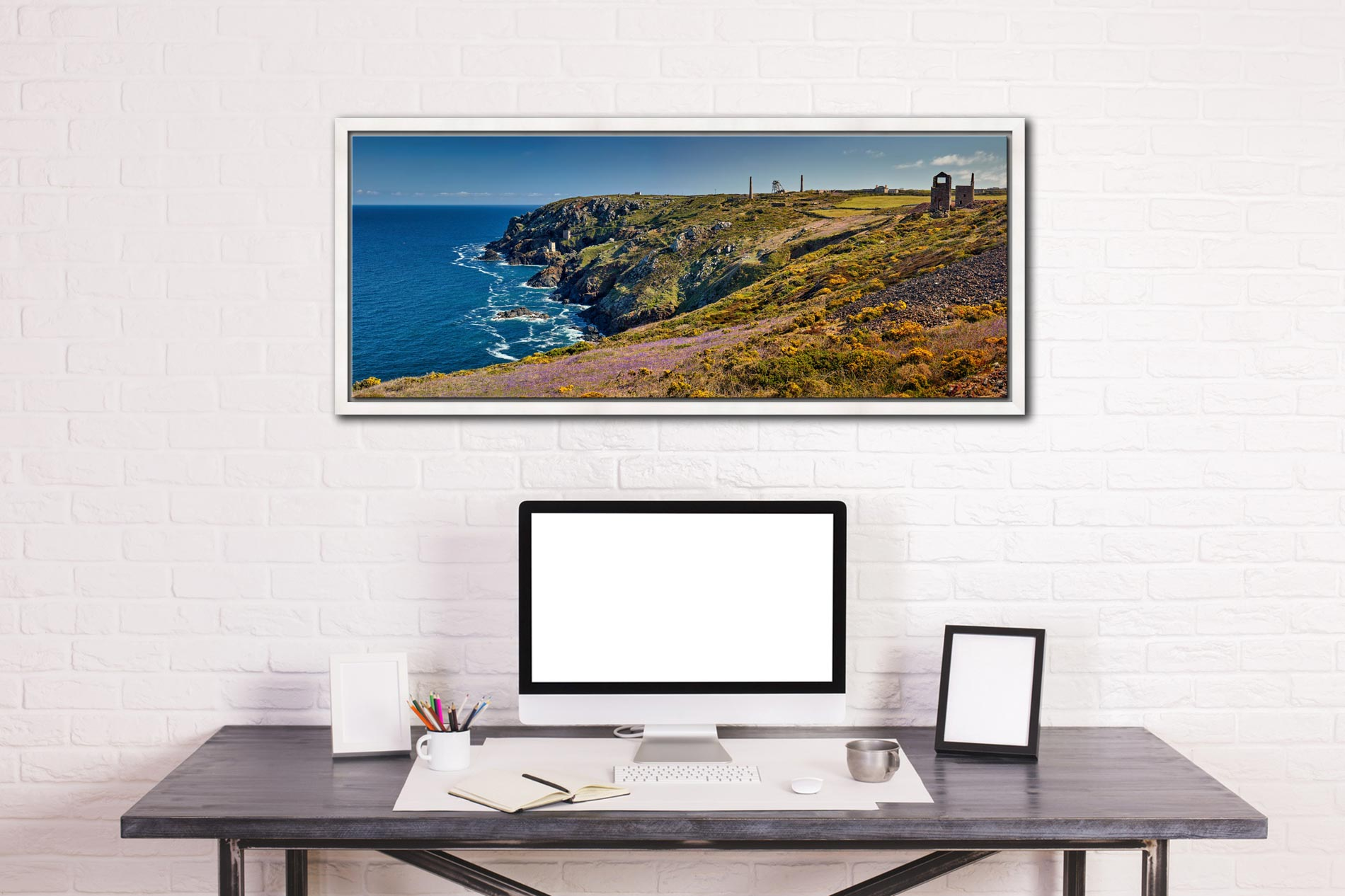 The wildflowers and mine ruins at Botallack on the Cornish coast - White Maple floater frame with acrylic glazing on Wall