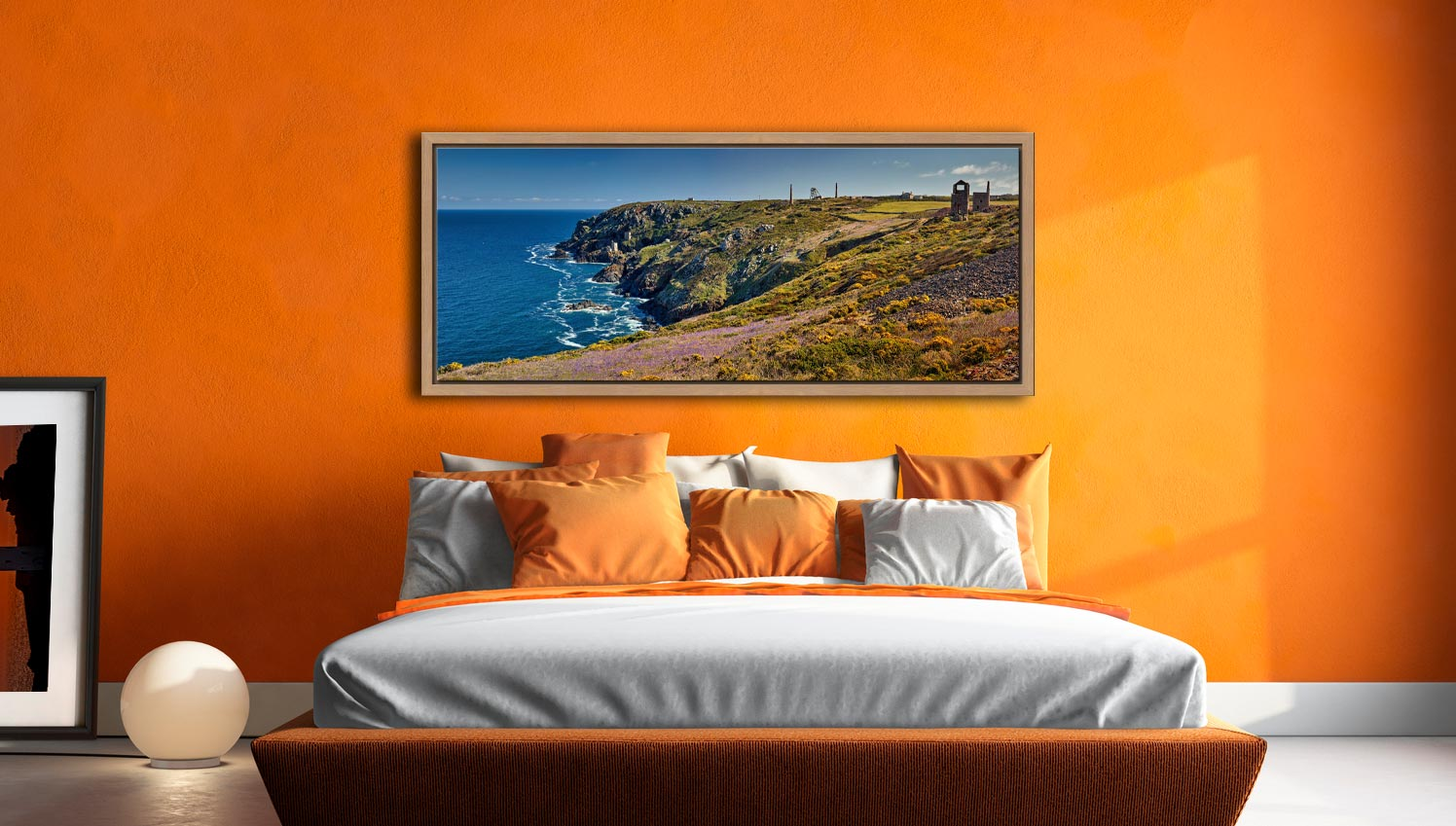 The wildflowers and mine ruins at Botallack on the Cornish coast - Oak floater frame with acrylic glazing on Wall