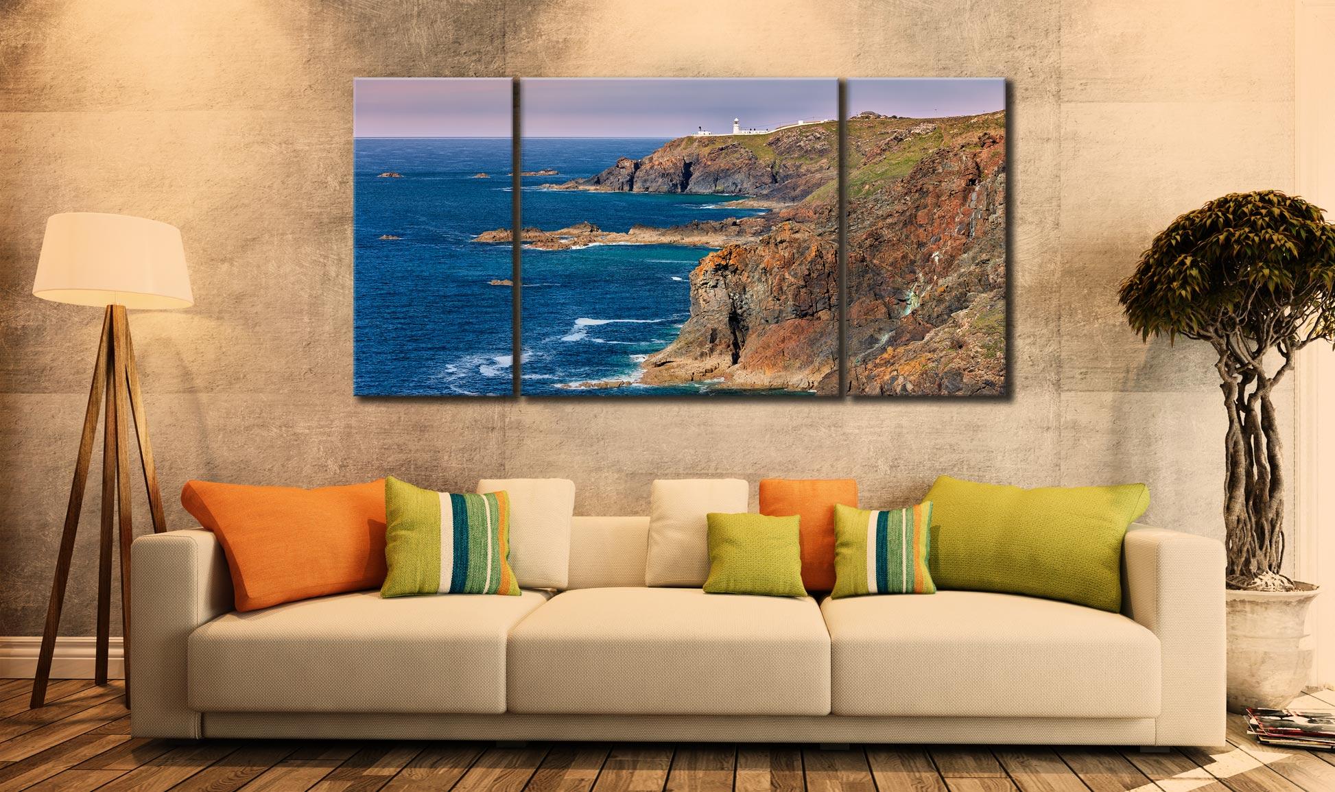 Pendeen Lighthouse Cliffs - 3 Panel Wide Centre Canvas on Wall