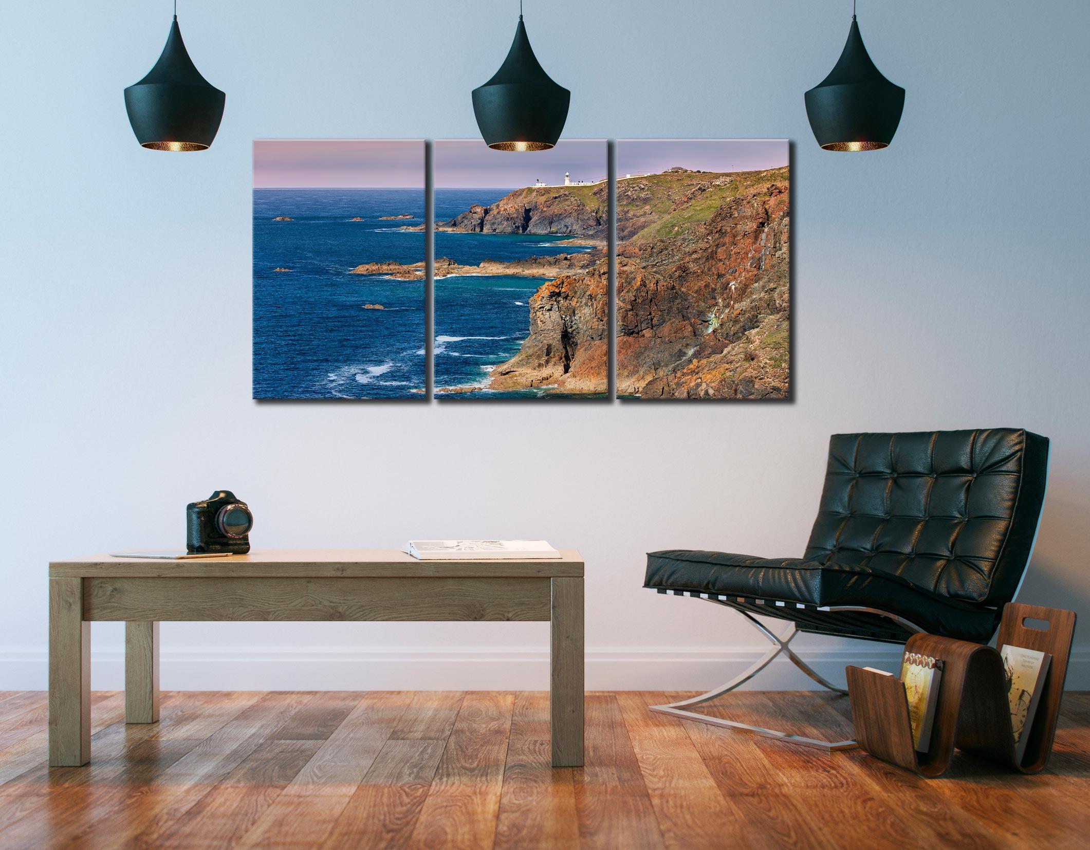 Pendeen Lighthouse Cliffs - 3 Panel Canvas on Wall