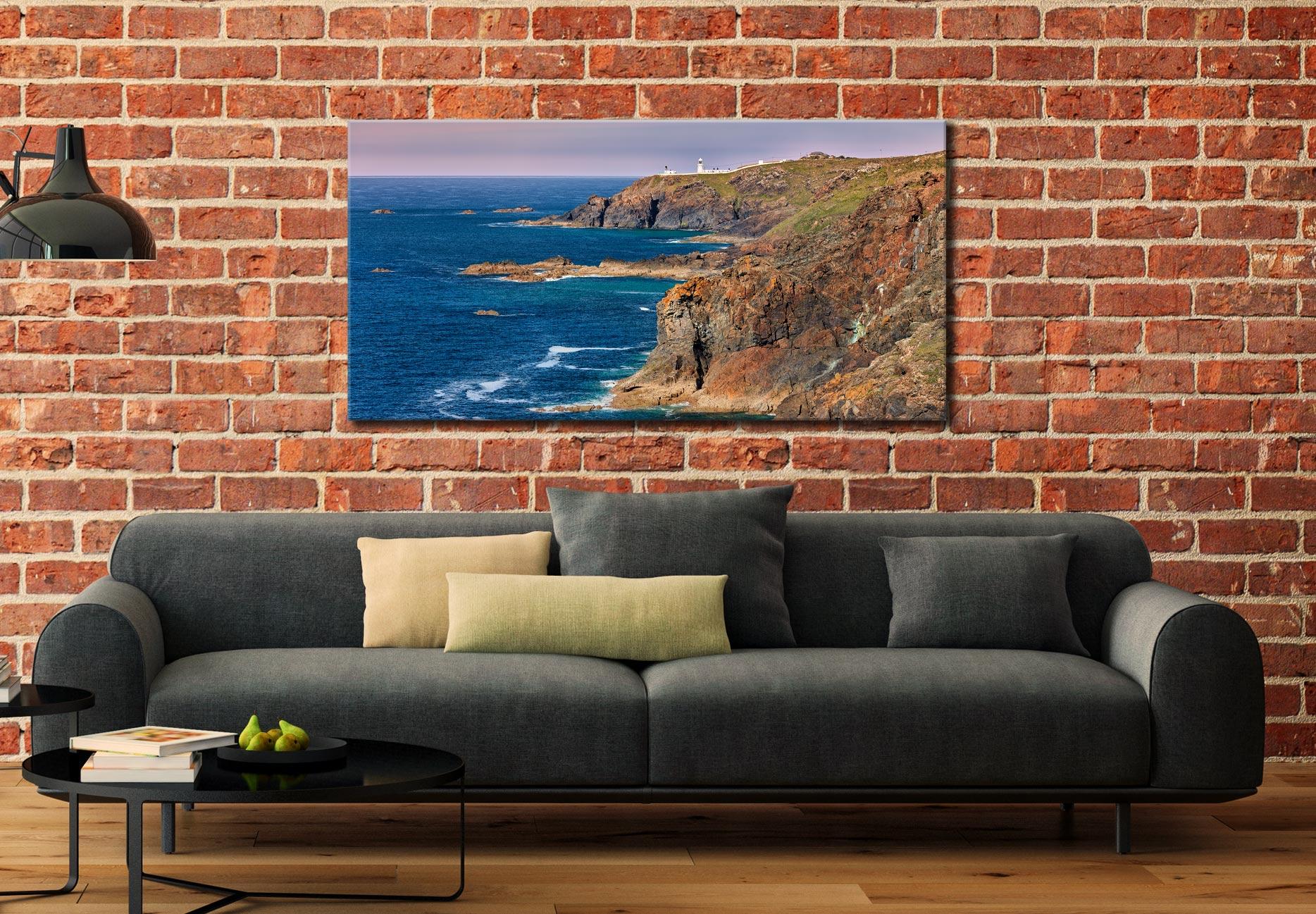 Pendeen Lighthouse Cliffs - Canvas Print on Wall