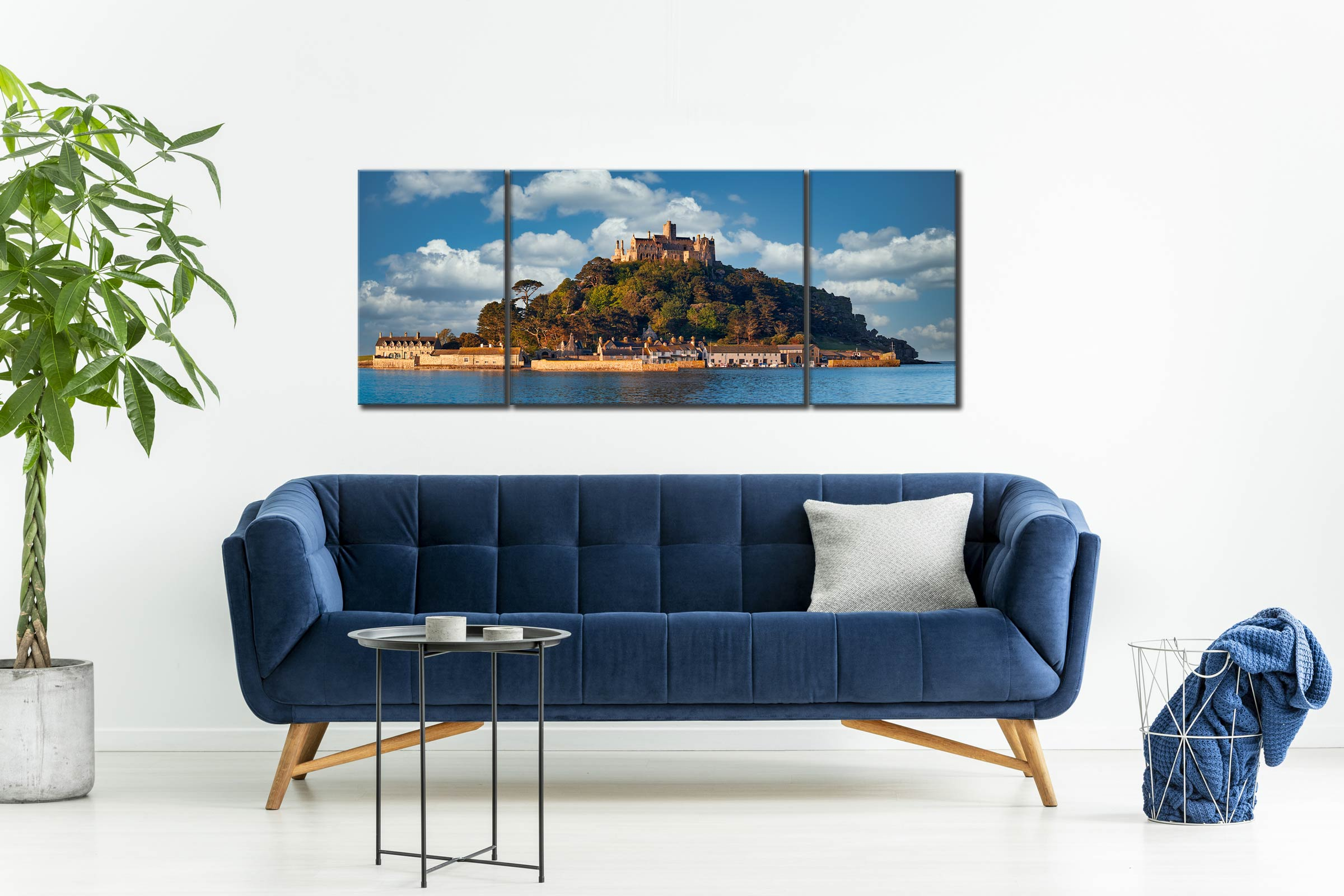 St Michaels Mount - 3 Panel Wide Mid Canvas on Wall