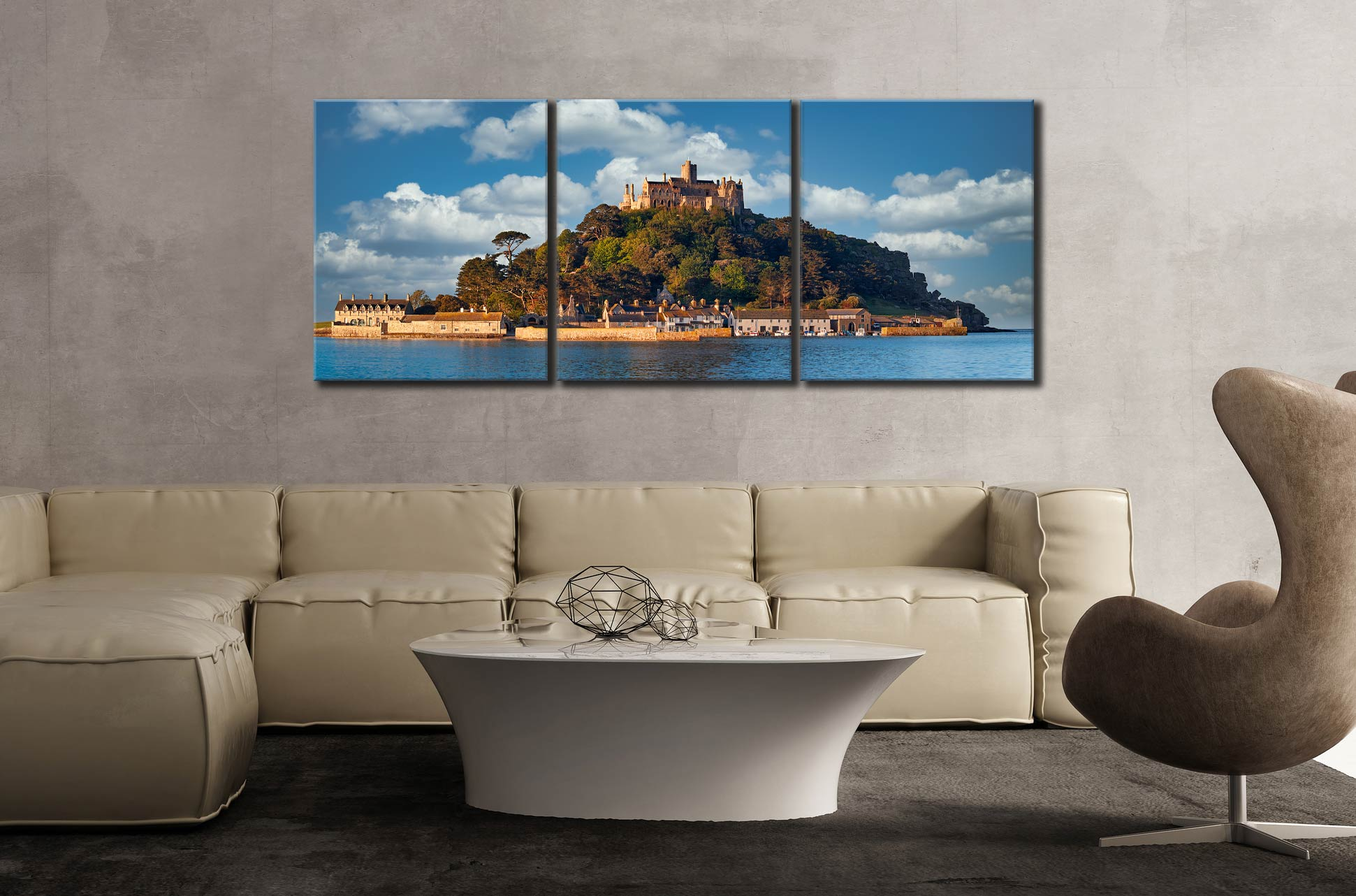 St Michaels Mount - 3 Panel Canvas on Wall