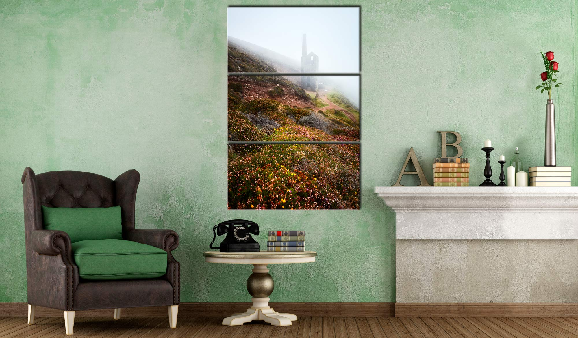 St Agnes Mine in the Mist - 3 Panel Canvas on Wall