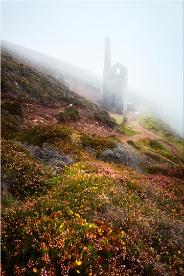 St Agnes Mine in the Mist - Cornwall Canvas