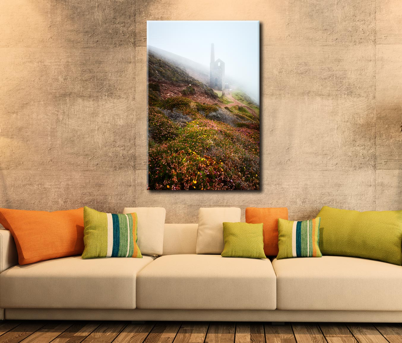 St Agnes Mine in the Mist - Cornwall Canvas on Wall