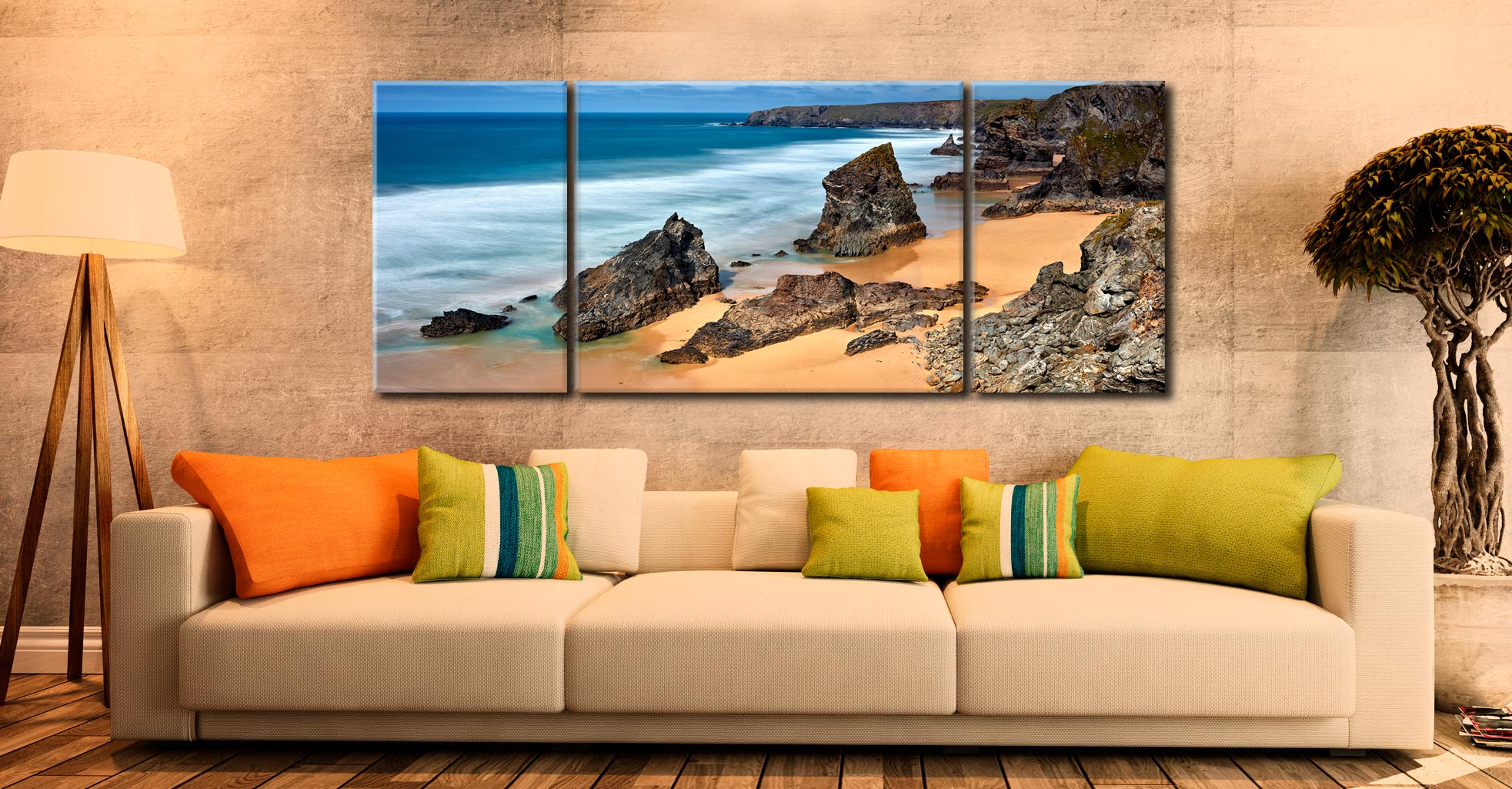 Postcard From Bedruthan Steps - 3 Panel Wide Mid Canvas on Wall