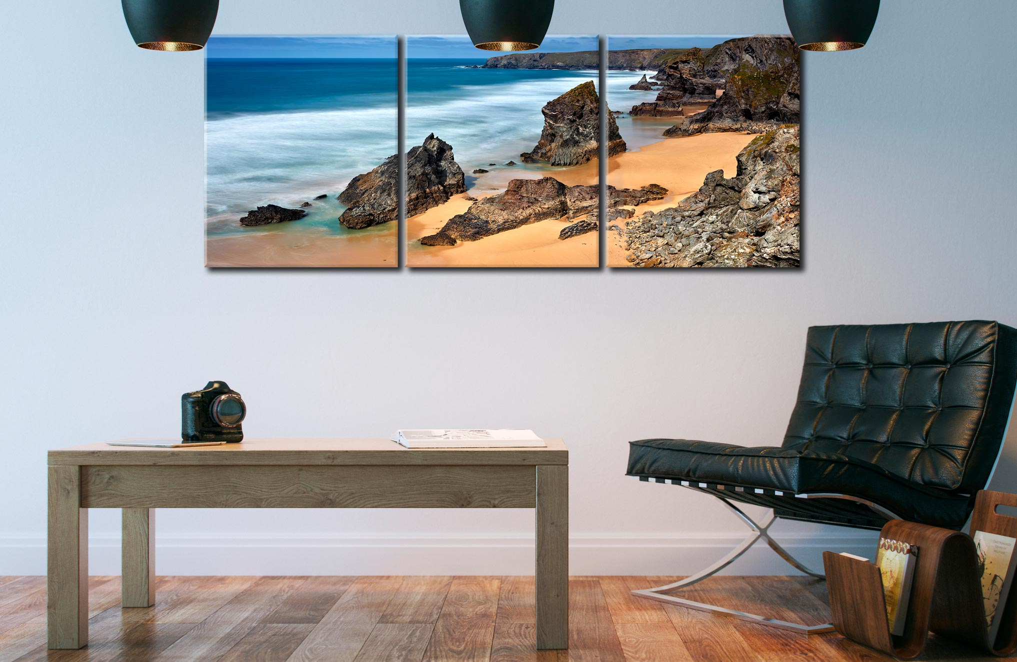 Postcard From Bedruthan Steps - 3 Panel Canvas on Wall