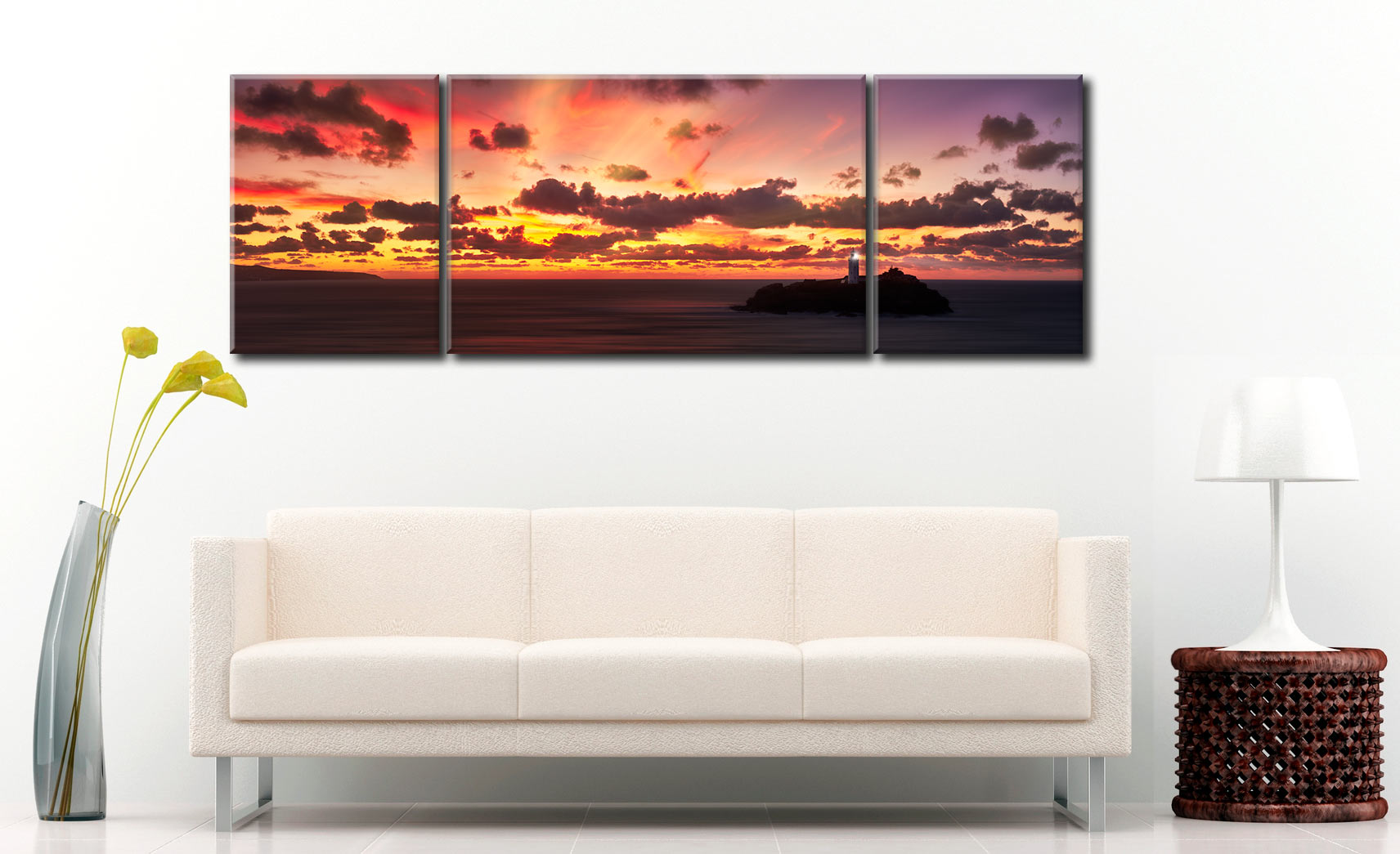 Godrevy Golden Sunset Panorama - 3 Panel Wide Mid Canvas on Wall