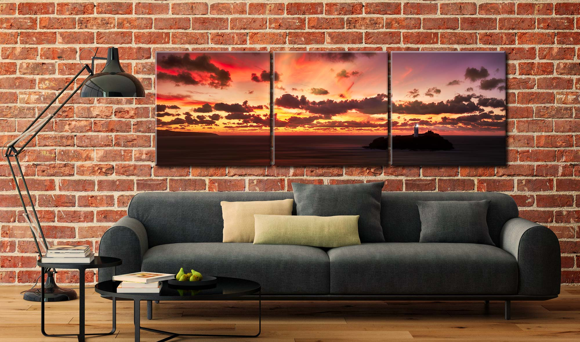Godrevy Golden Sunset Panorama - 3 Panel Canvas on Wall