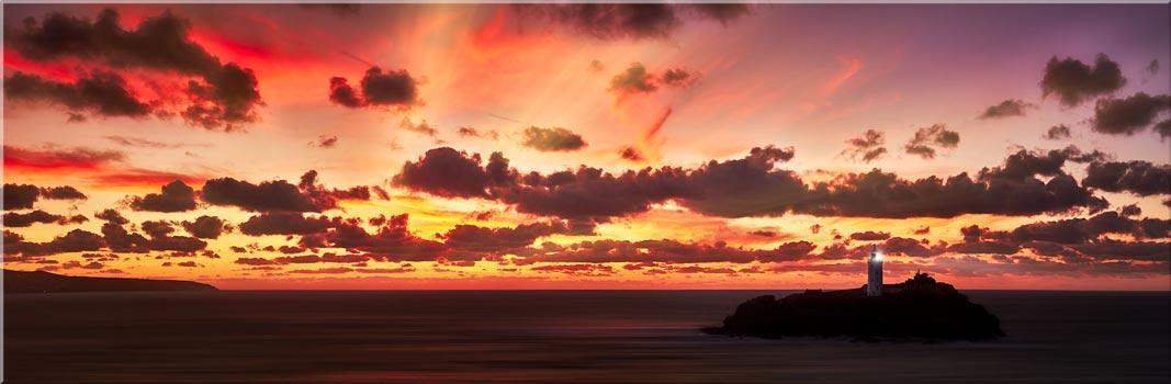 Godrevy Golden Sunset Panorama - Canvas Print