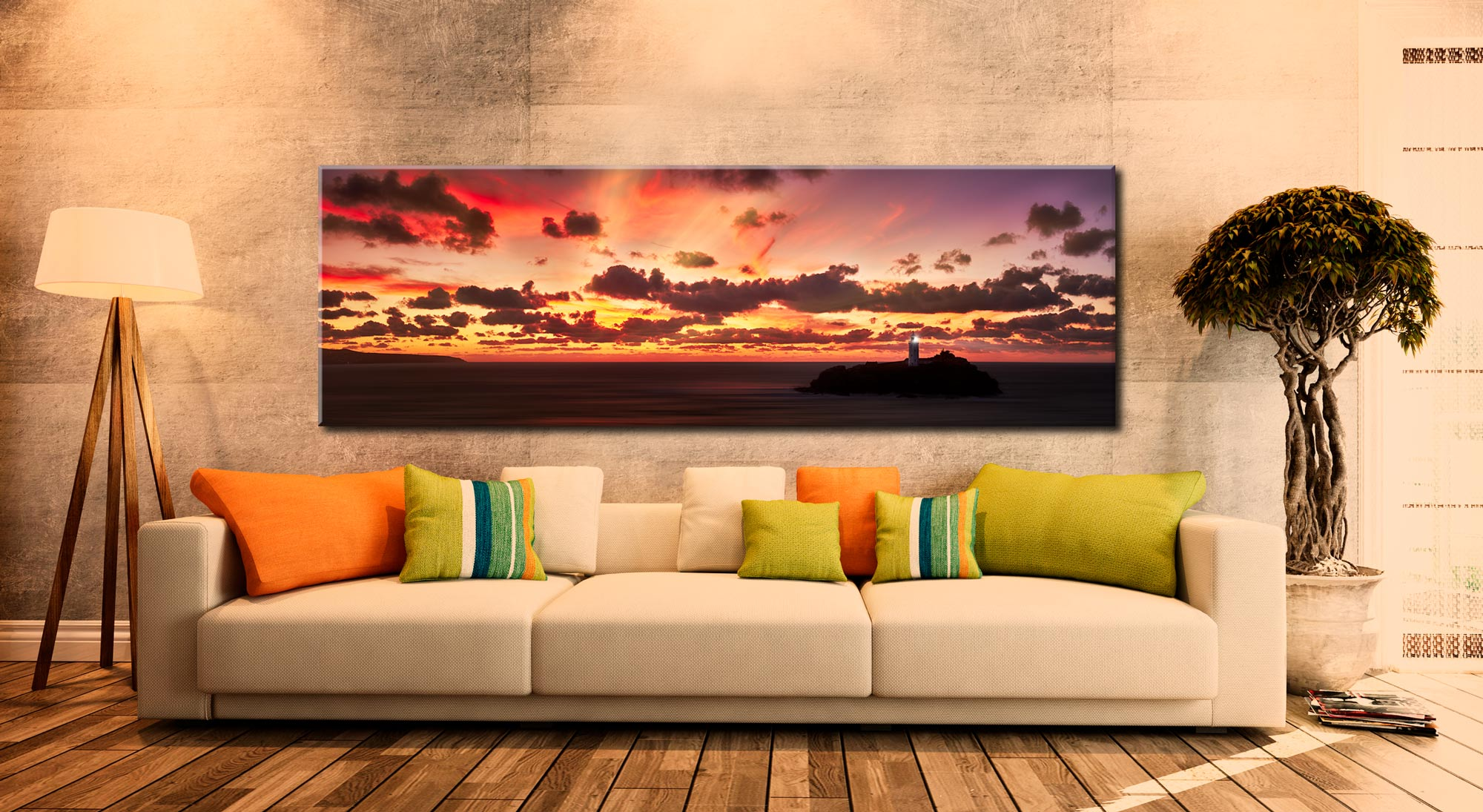 Godrevy Sunset Panorama Canvas on Wall