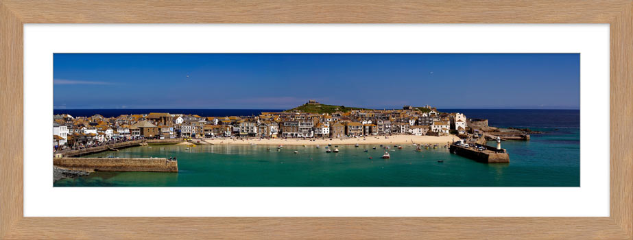 St Ives Harbour Panorama - Framed Print with Mount