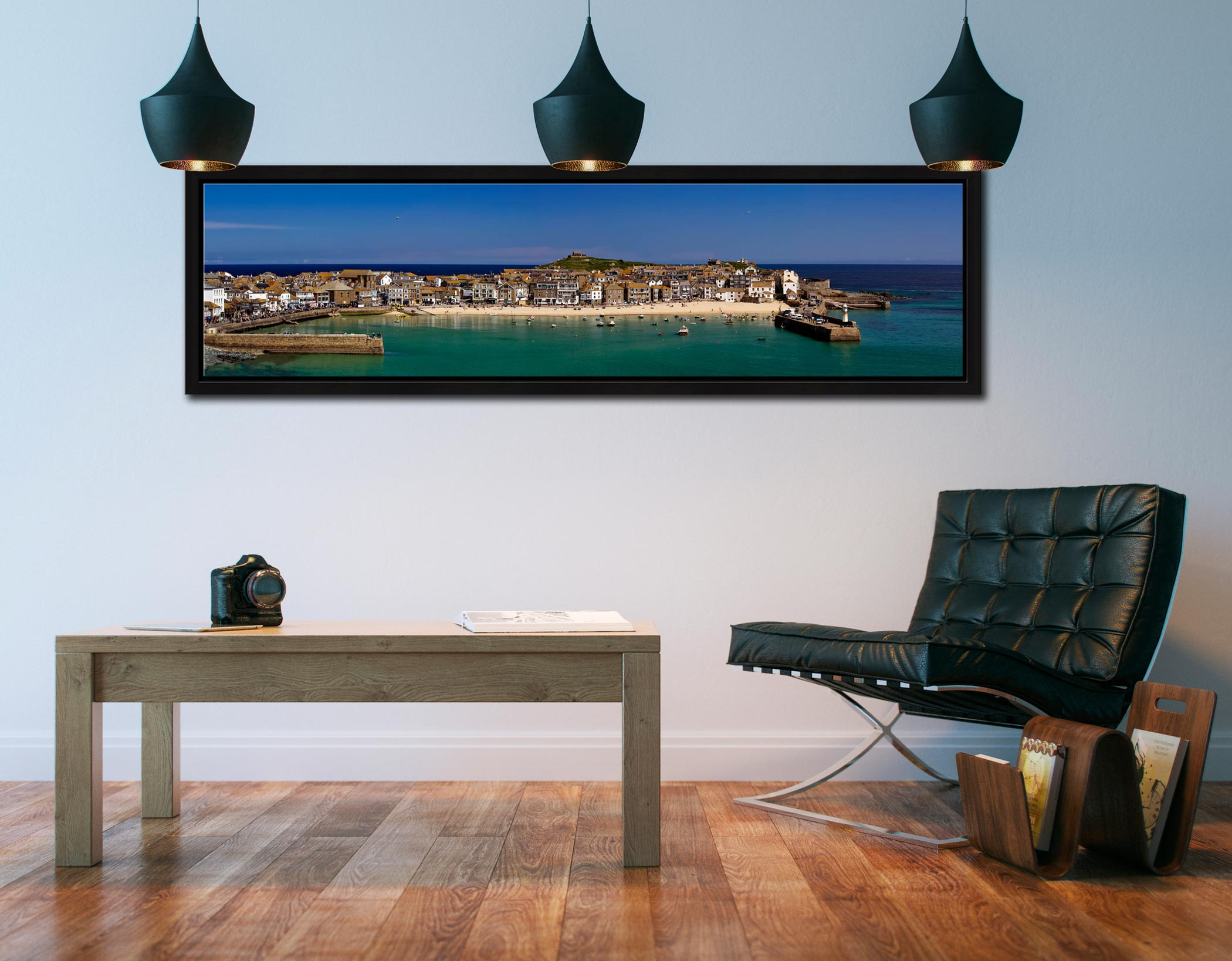 St Ives Harbour Panorama - Black oak floater frame with acrylic glazing on Wall