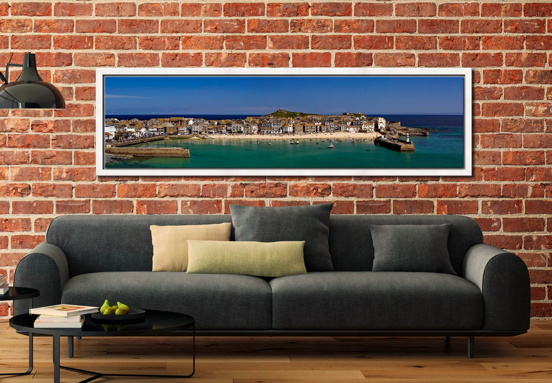 St Ives Harbour Panorama - White Maple floater frame with acrylic glazing on Wall