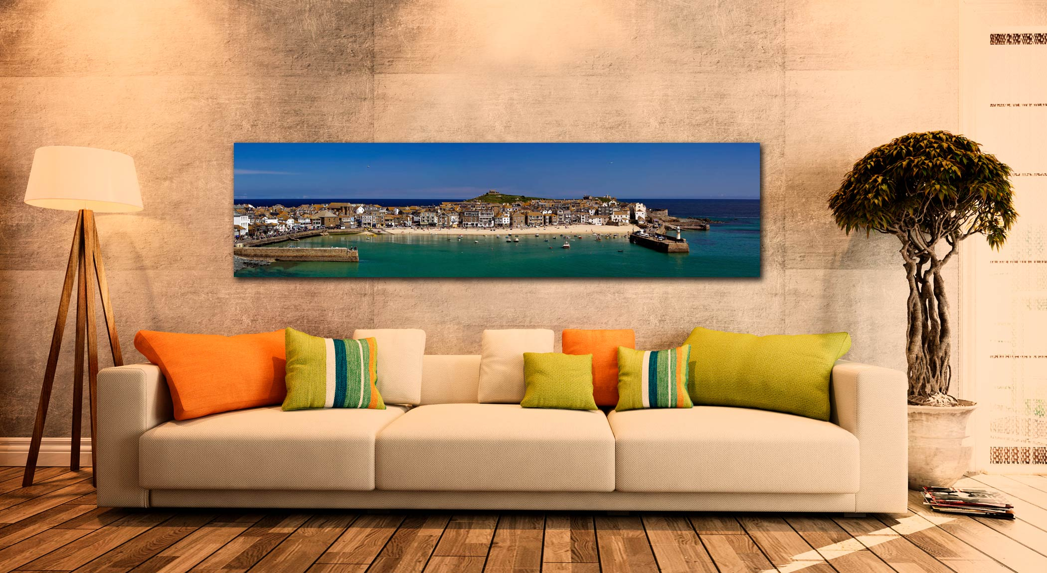 St Ives Harbour Panorama - Print Aluminium Backing With Acrylic Glazing on Wall