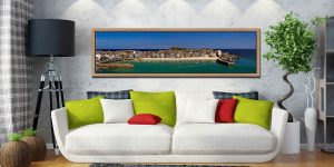 St Ives Harbour Panorama - Oak floater frame with acrylic glazing on Wall